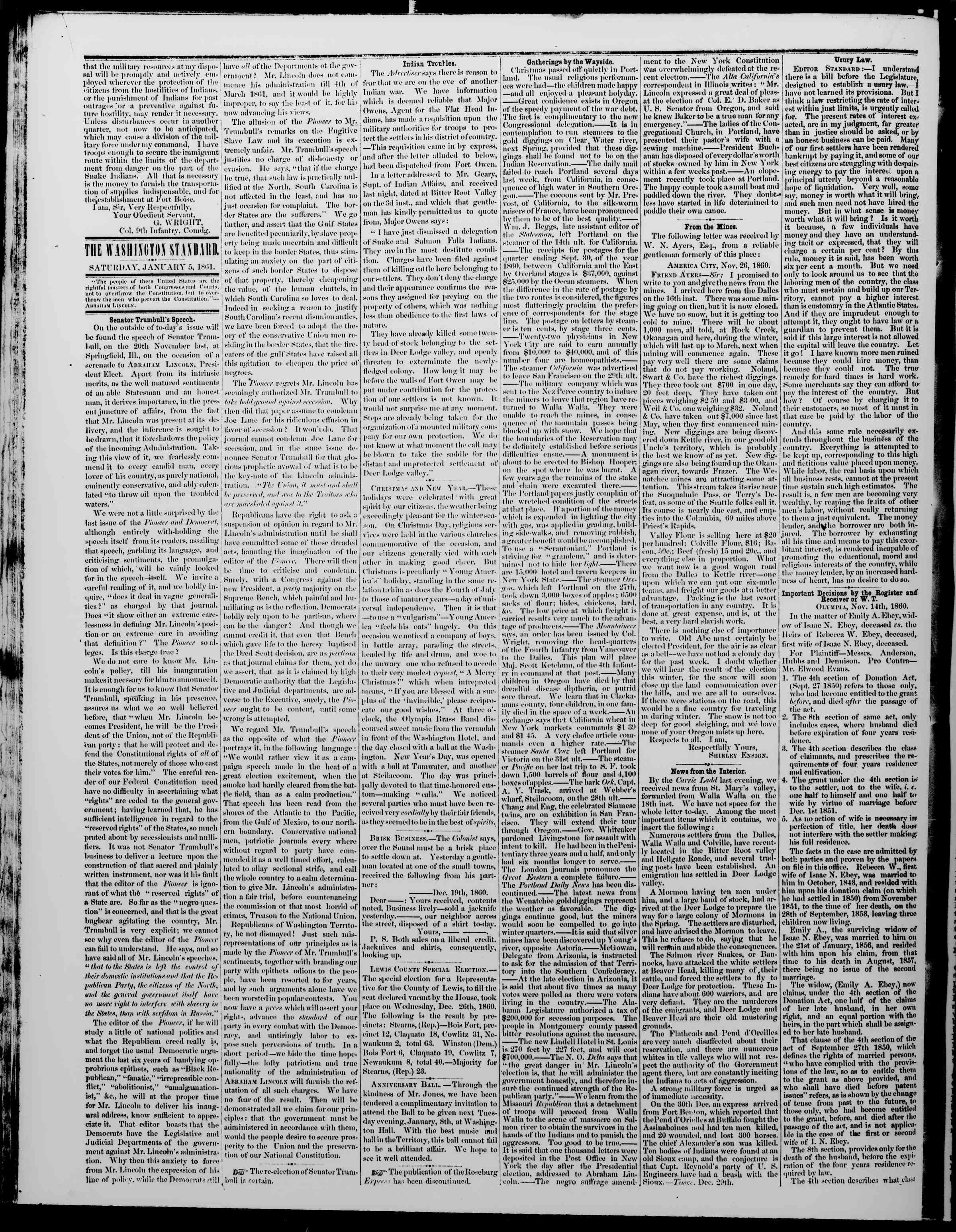 Newspaper of The Washington Standard dated January 5, 1861 Page 2