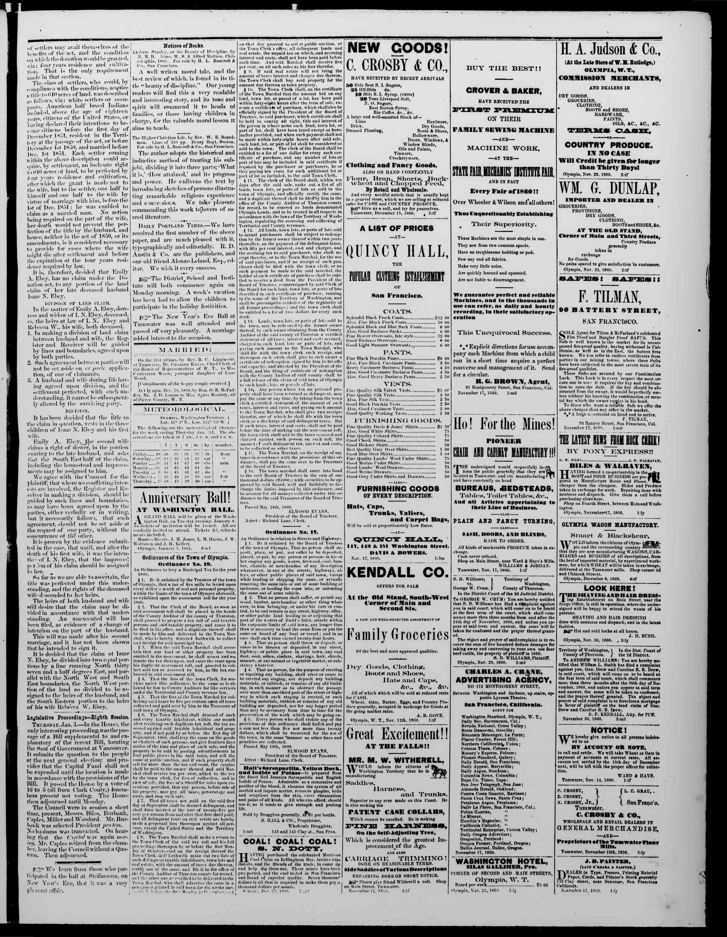 Newspaper of The Washington Standard dated January 5, 1861 Page 3