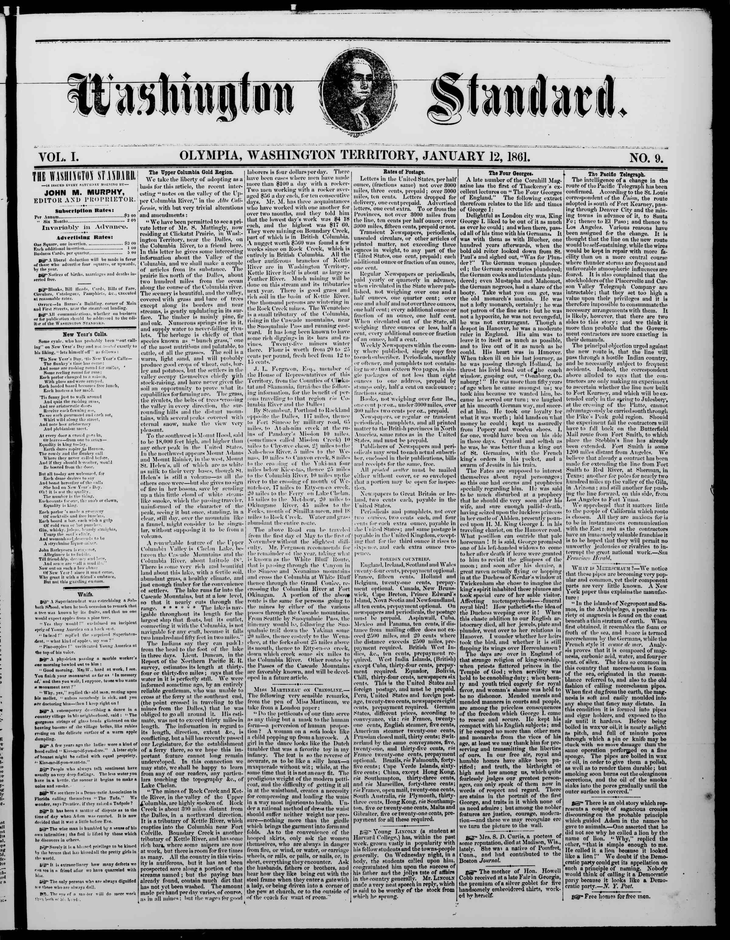 Newspaper of The Washington Standard dated January 12, 1861 Page 1