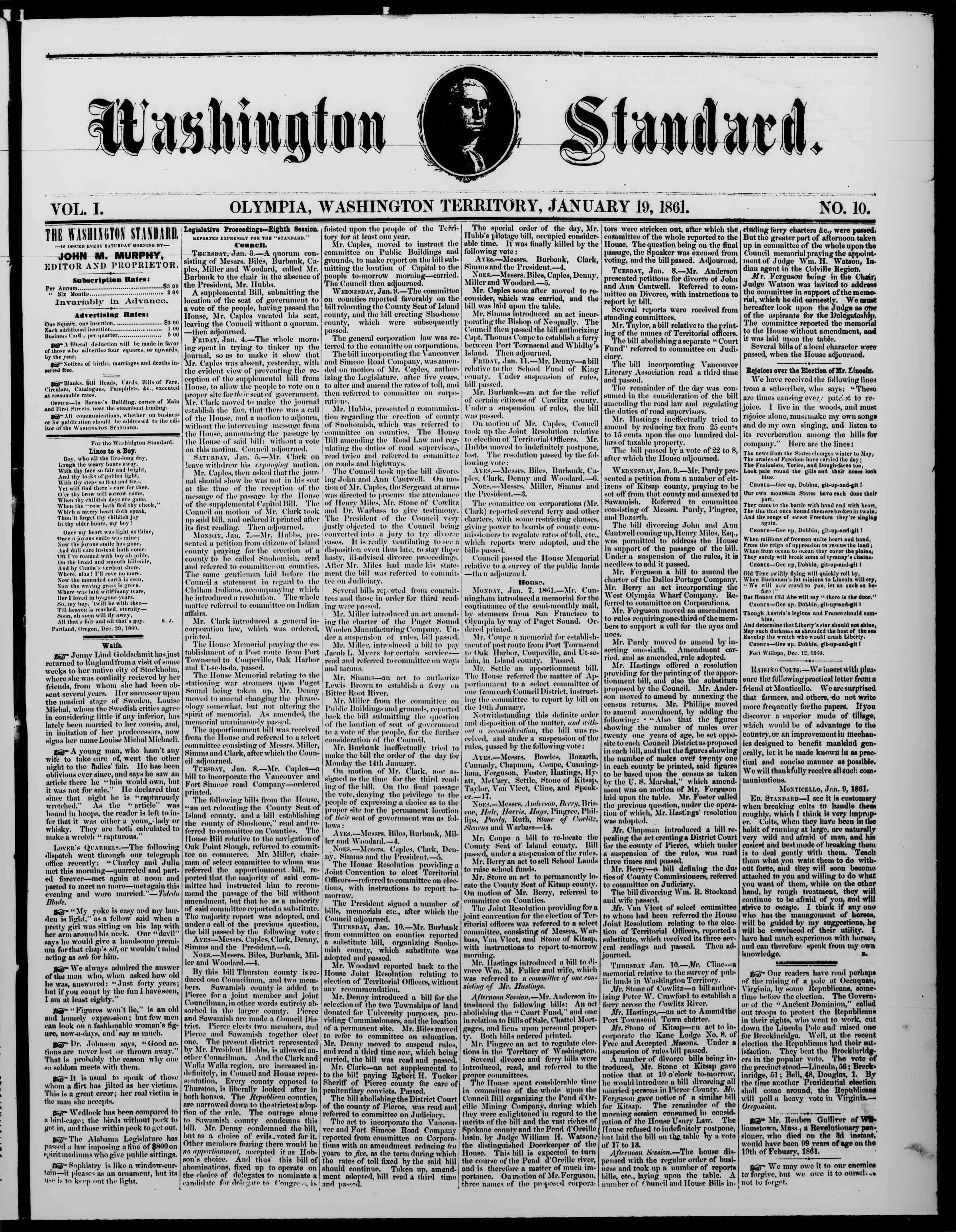 Newspaper of The Washington Standard dated January 19, 1861 Page 1