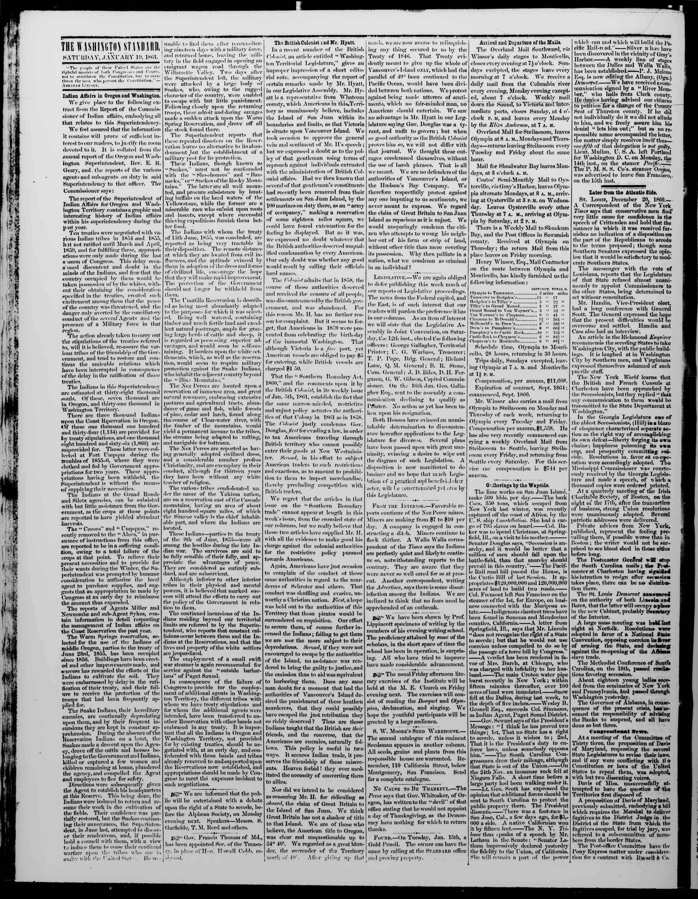 Newspaper of The Washington Standard dated January 19, 1861 Page 2
