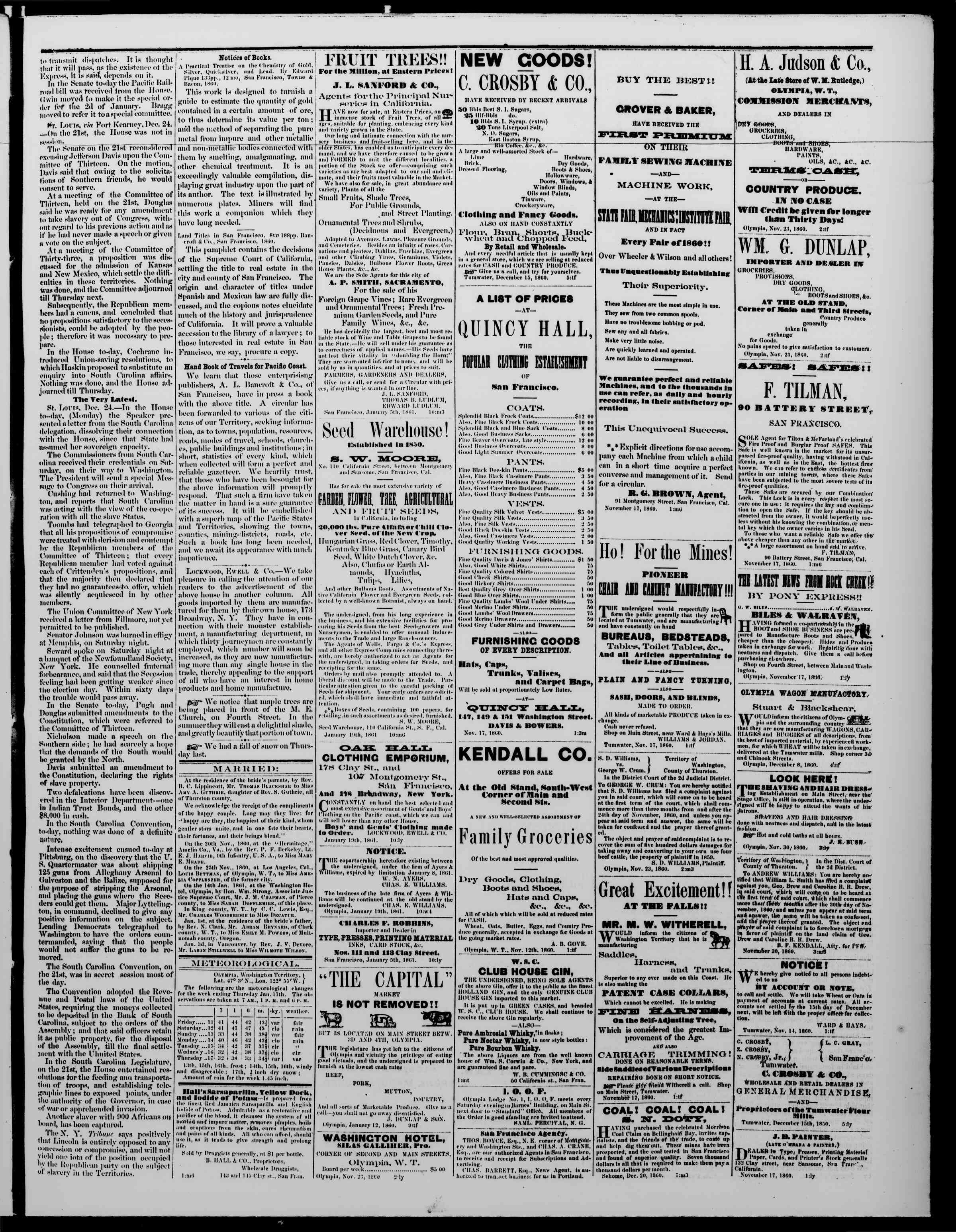 Newspaper of The Washington Standard dated January 19, 1861 Page 3