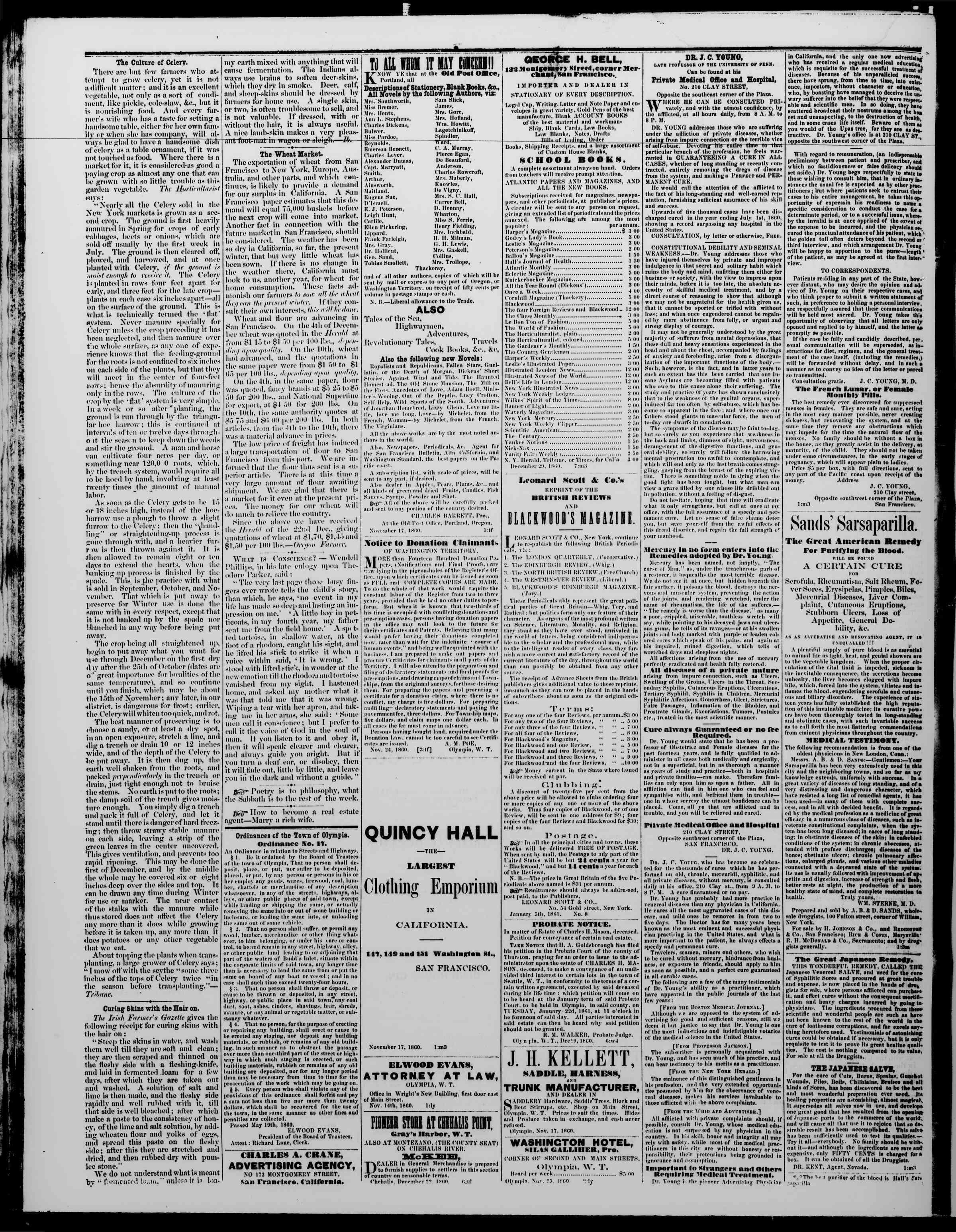Newspaper of The Washington Standard dated January 19, 1861 Page 4