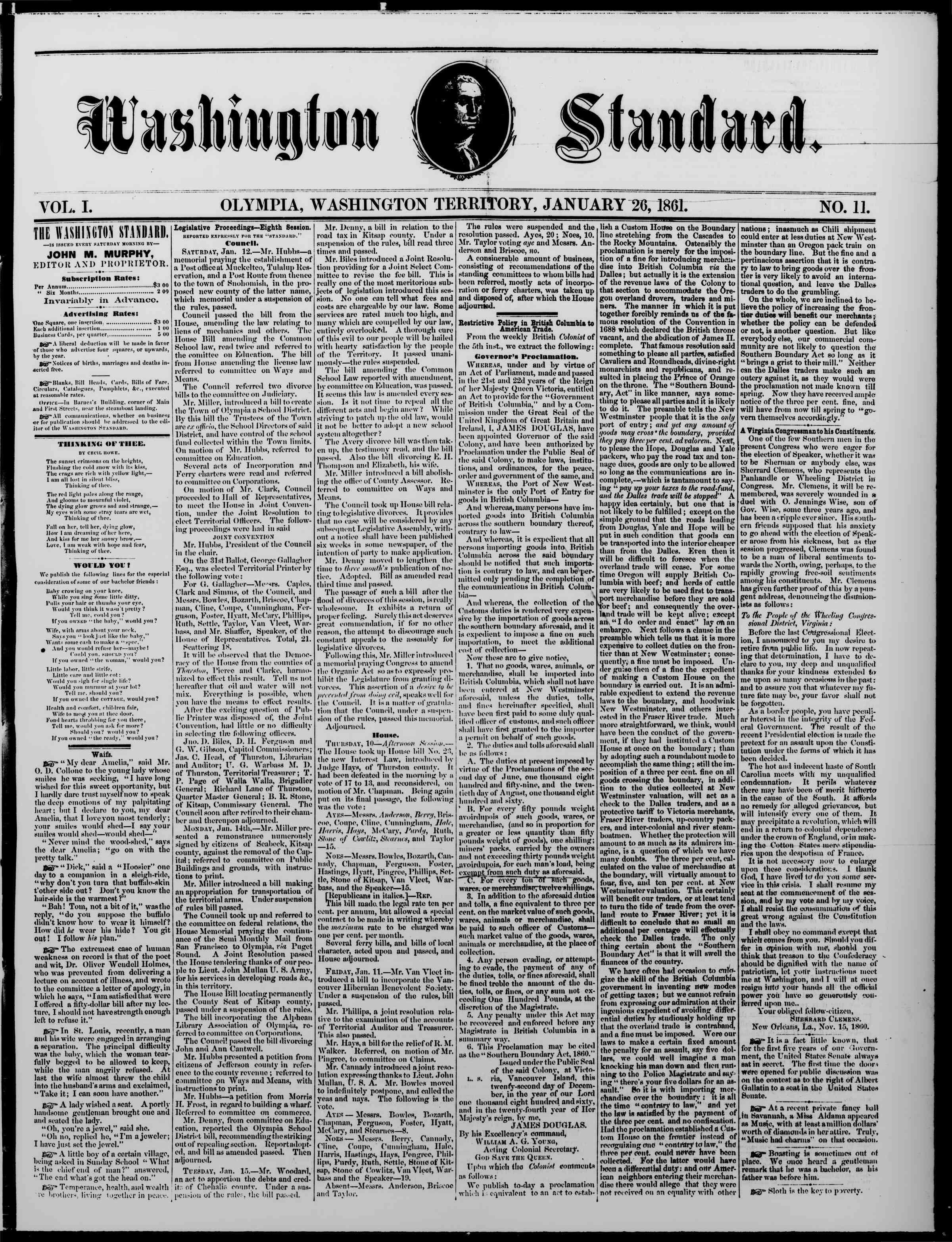 Newspaper of The Washington Standard dated January 26, 1861 Page 1