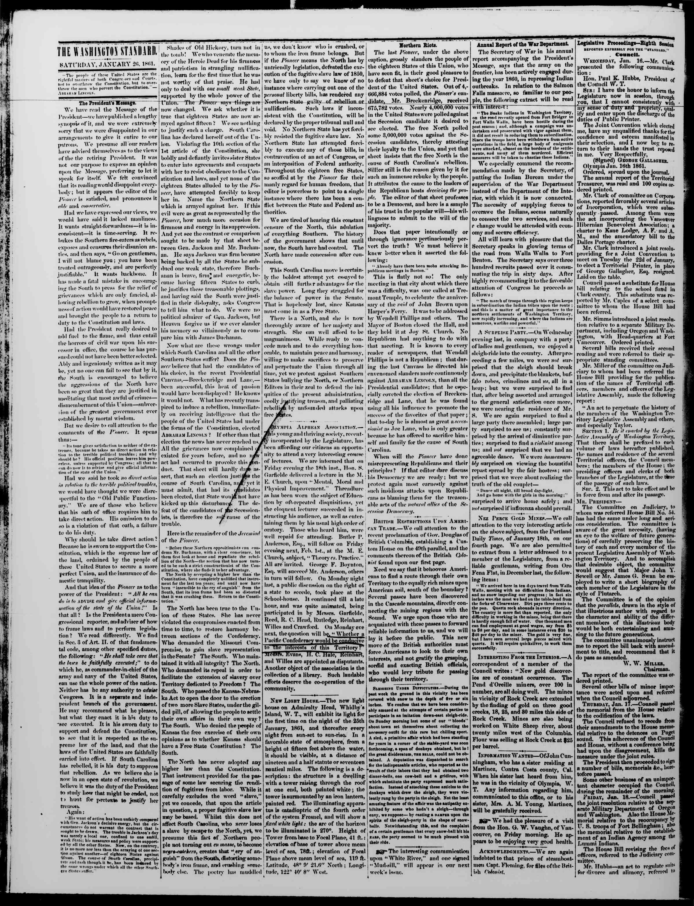Newspaper of The Washington Standard dated January 26, 1861 Page 2