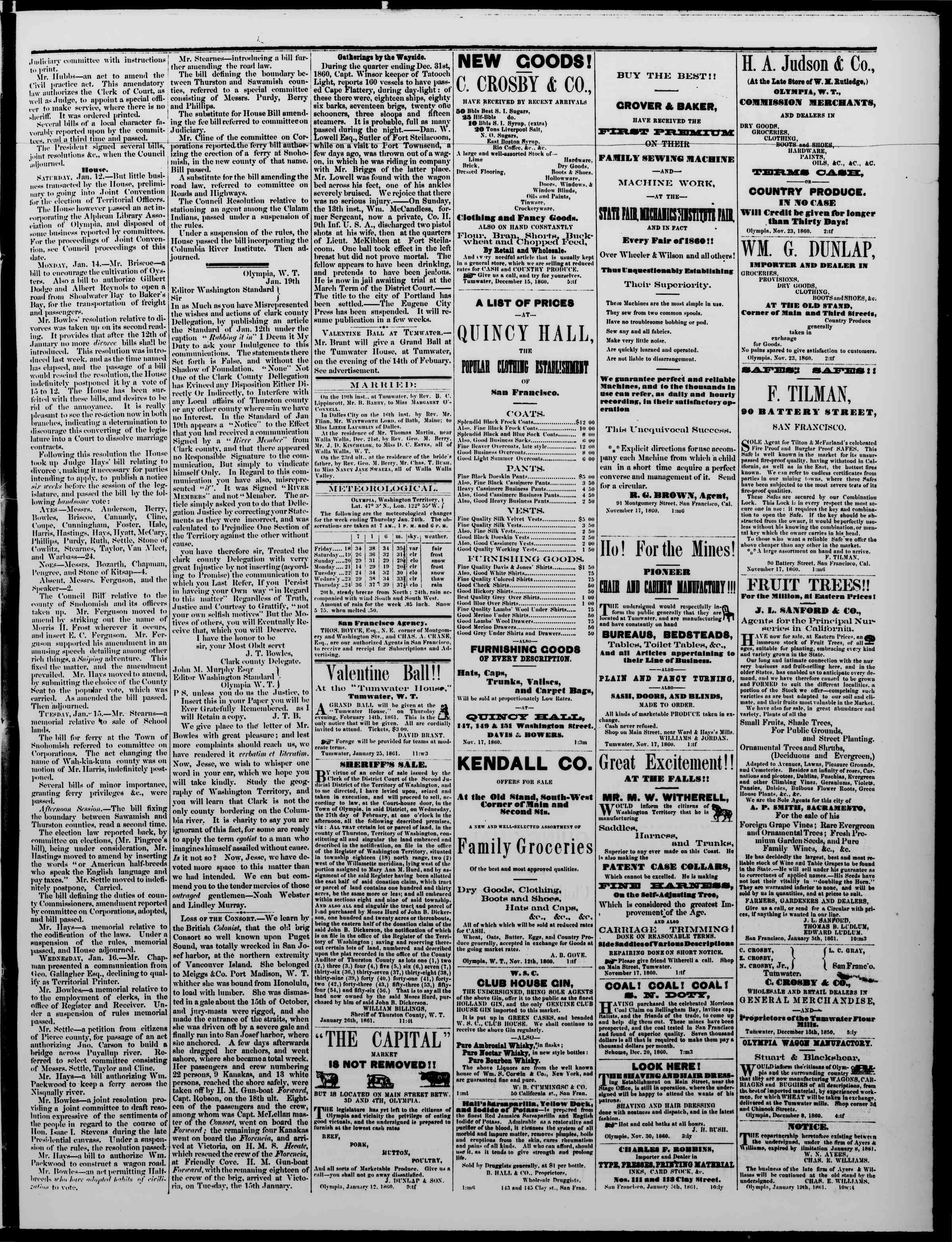 Newspaper of The Washington Standard dated January 26, 1861 Page 3