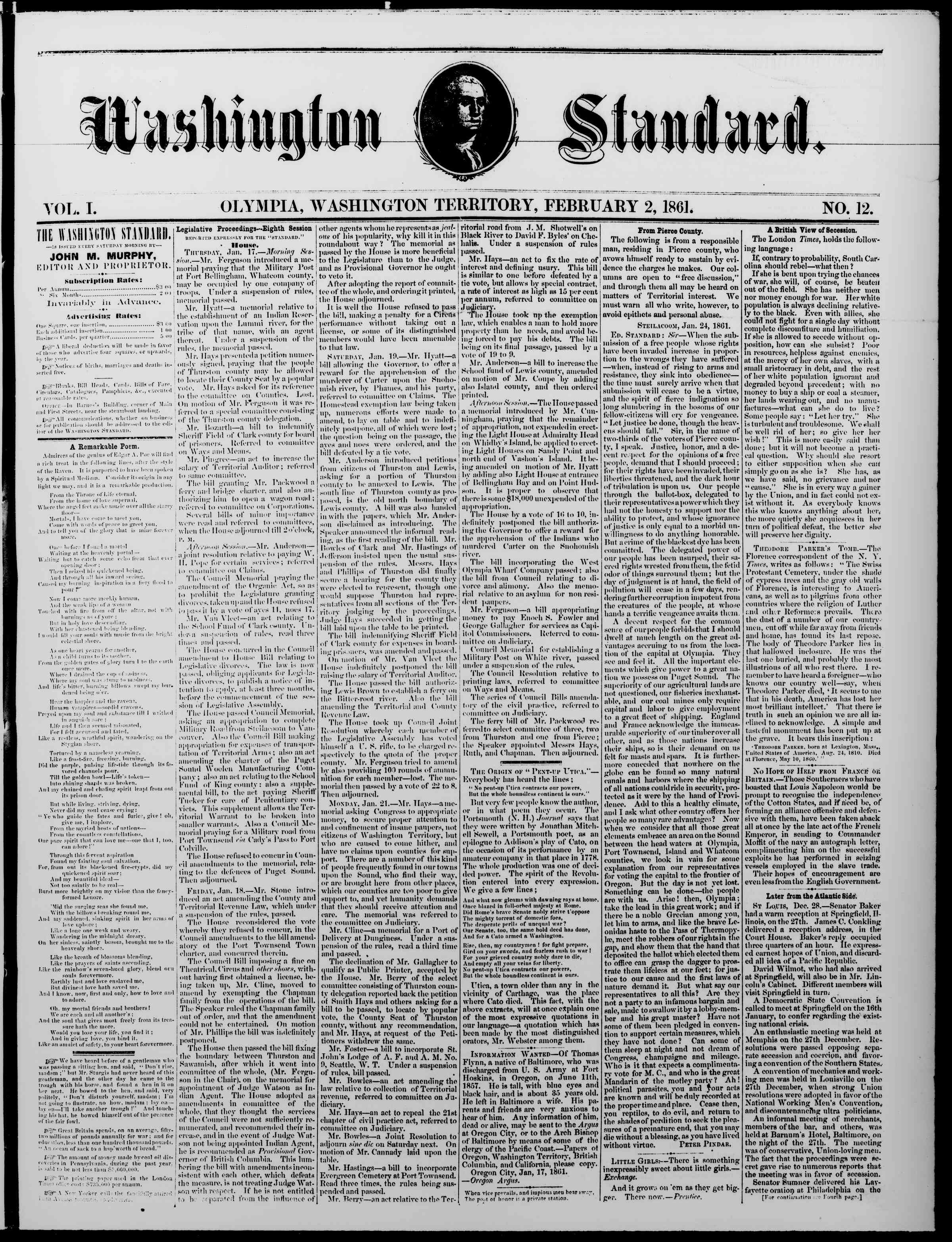 Newspaper of The Washington Standard dated February 2, 1861 Page 1