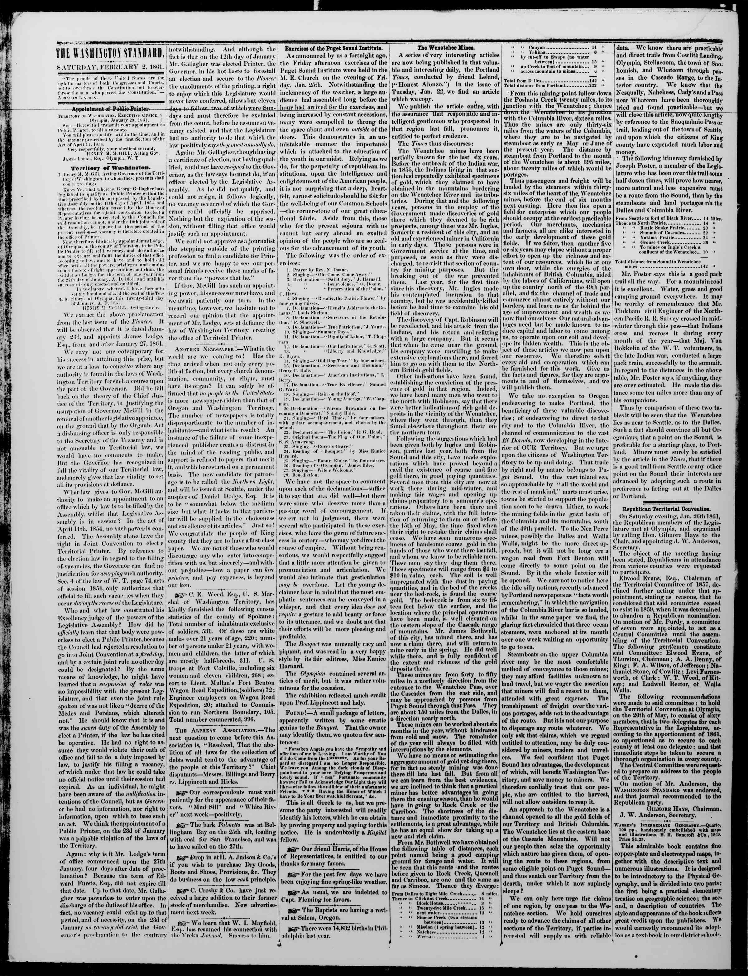 Newspaper of The Washington Standard dated February 2, 1861 Page 2