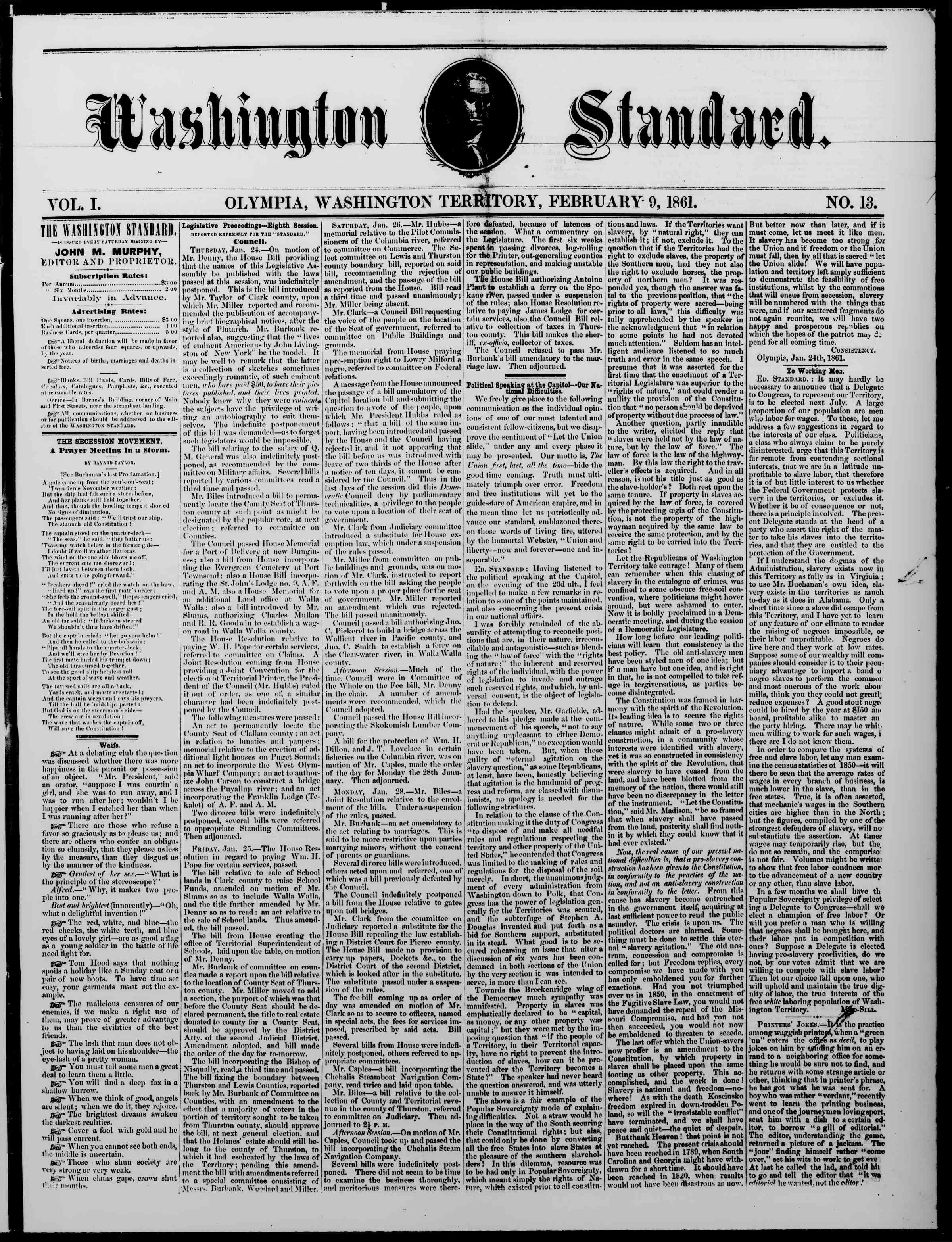 Newspaper of The Washington Standard dated February 9, 1861 Page 1