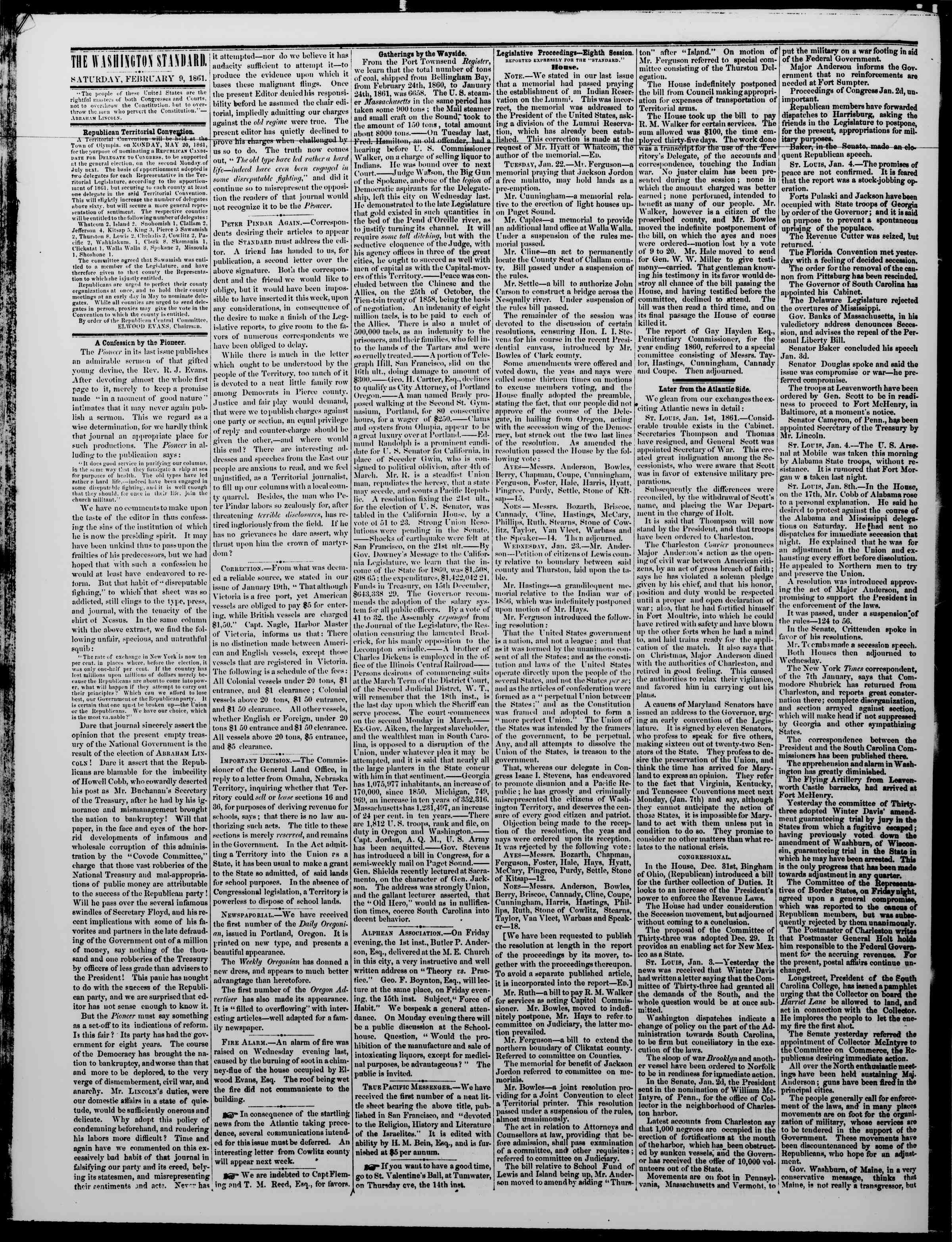 Newspaper of The Washington Standard dated February 9, 1861 Page 2