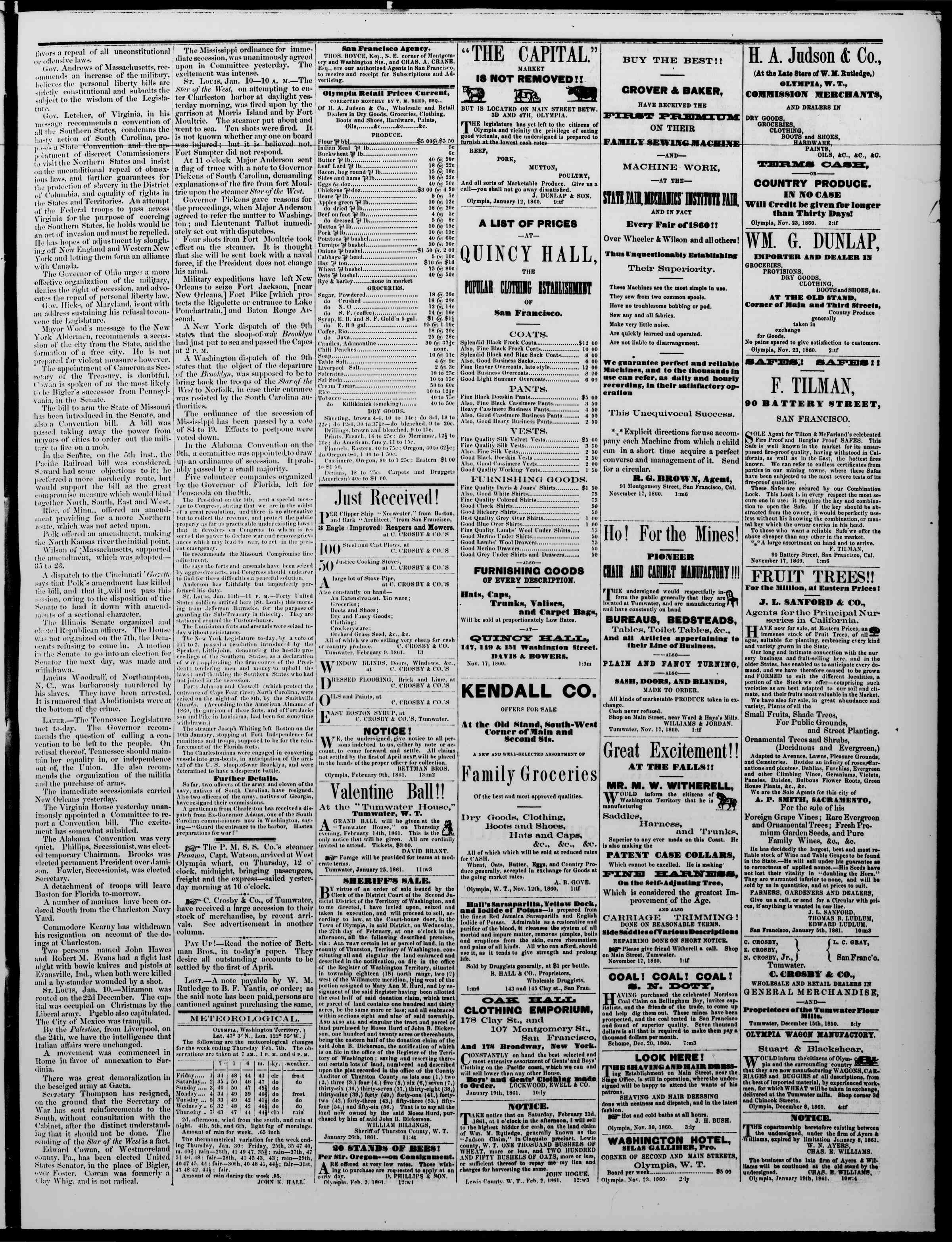 Newspaper of The Washington Standard dated February 9, 1861 Page 3
