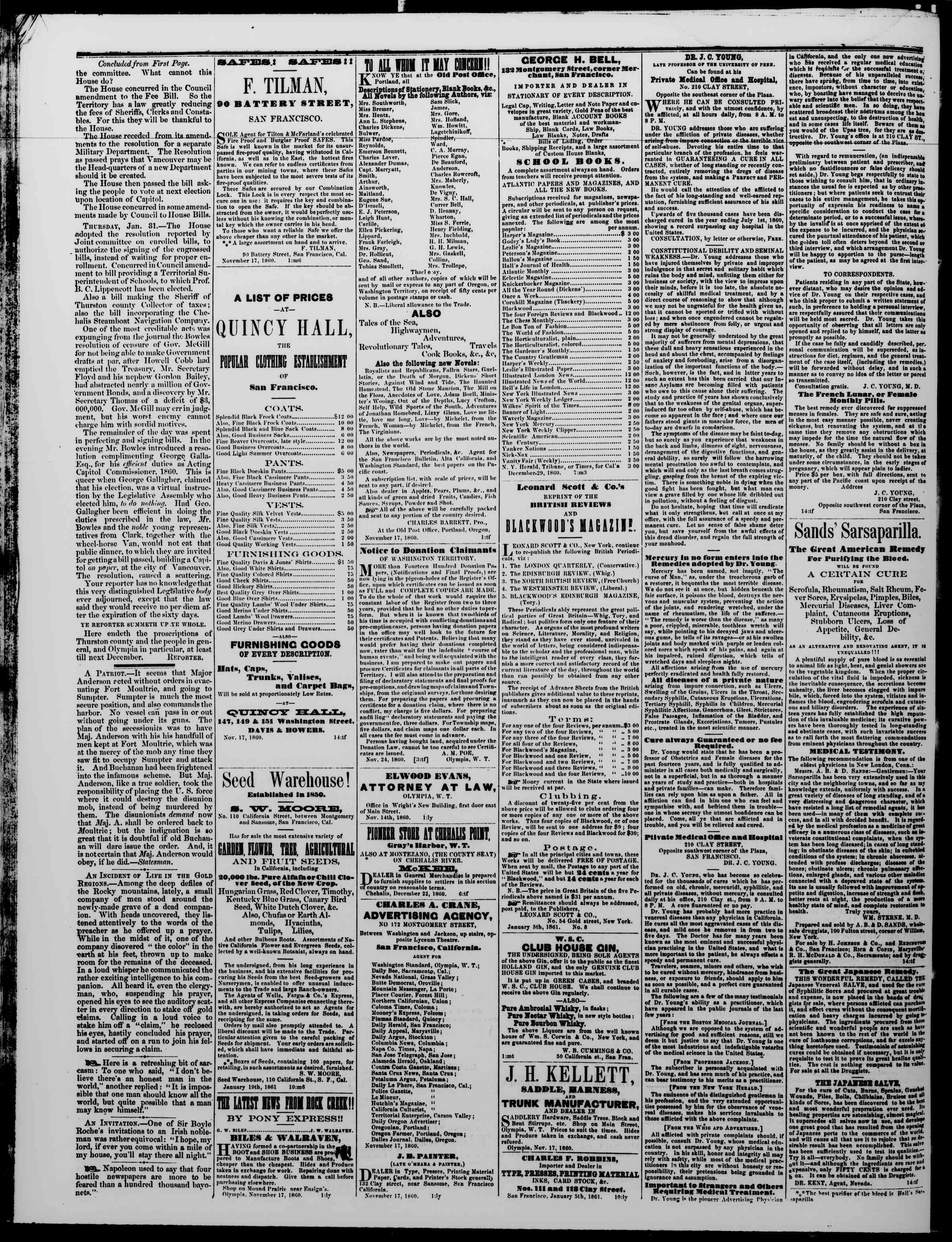 Newspaper of The Washington Standard dated February 16, 1861 Page 4