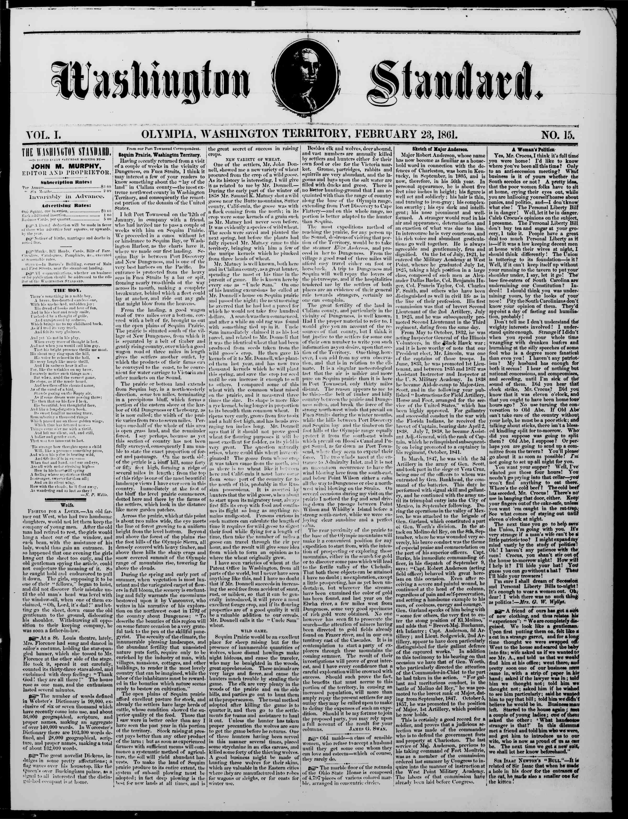 Newspaper of The Washington Standard dated 23 Şubat 1861 Page 1