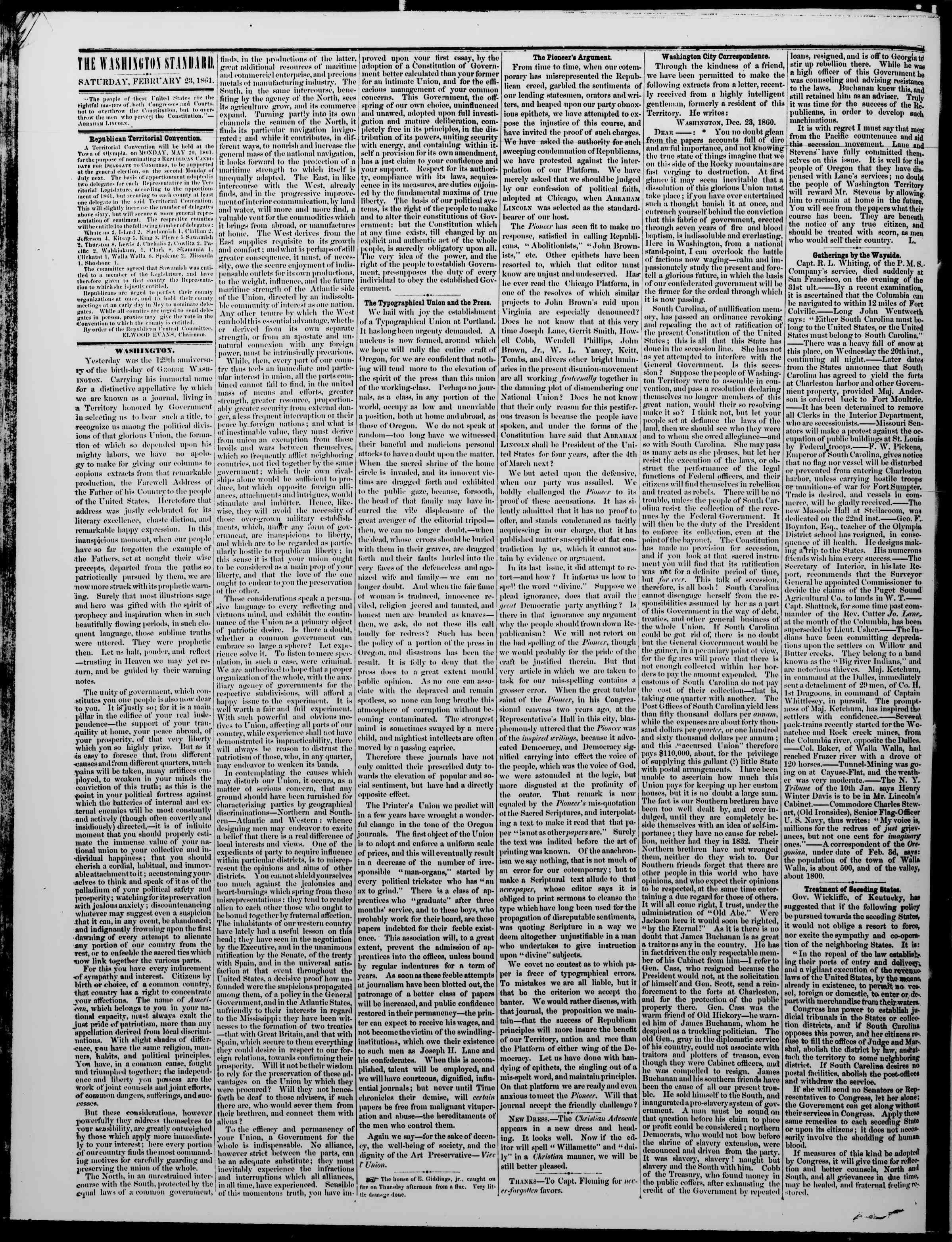 Newspaper of The Washington Standard dated February 23, 1861 Page 2