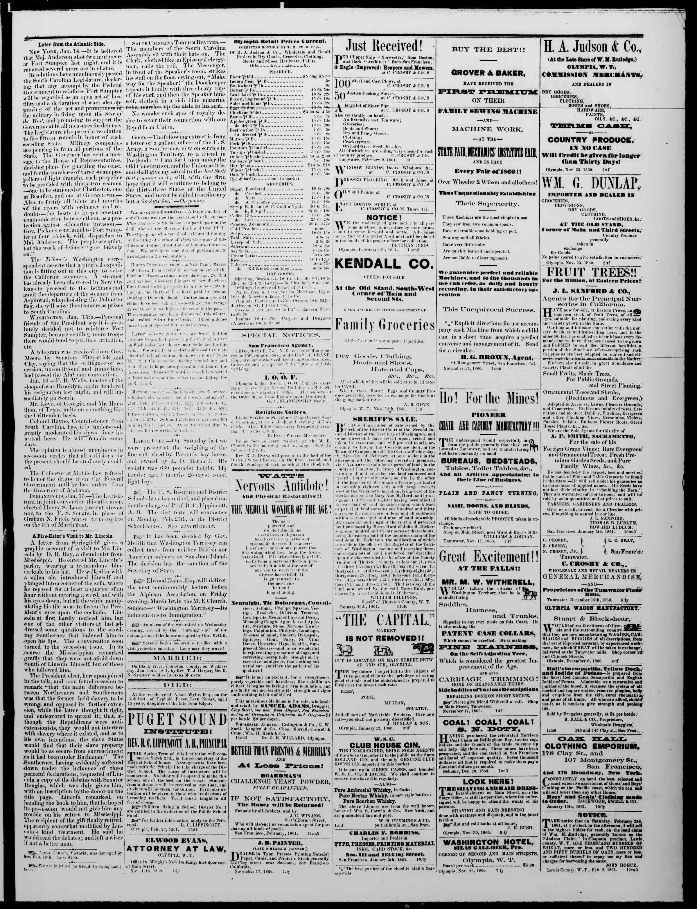 Newspaper of The Washington Standard dated February 23, 1861 Page 3