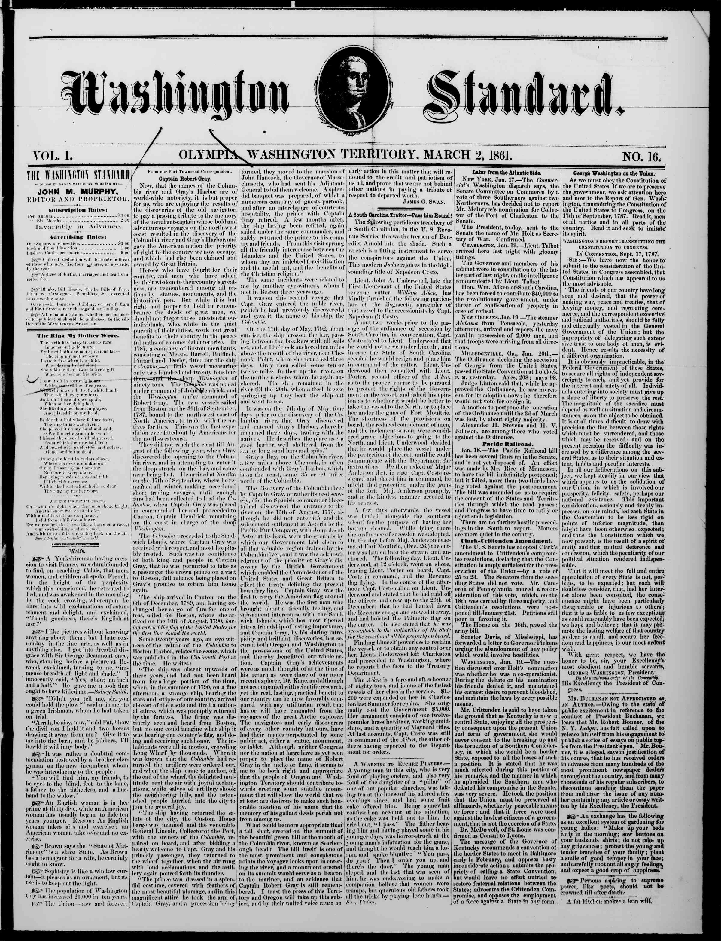 Newspaper of The Washington Standard dated March 2, 1861 Page 1
