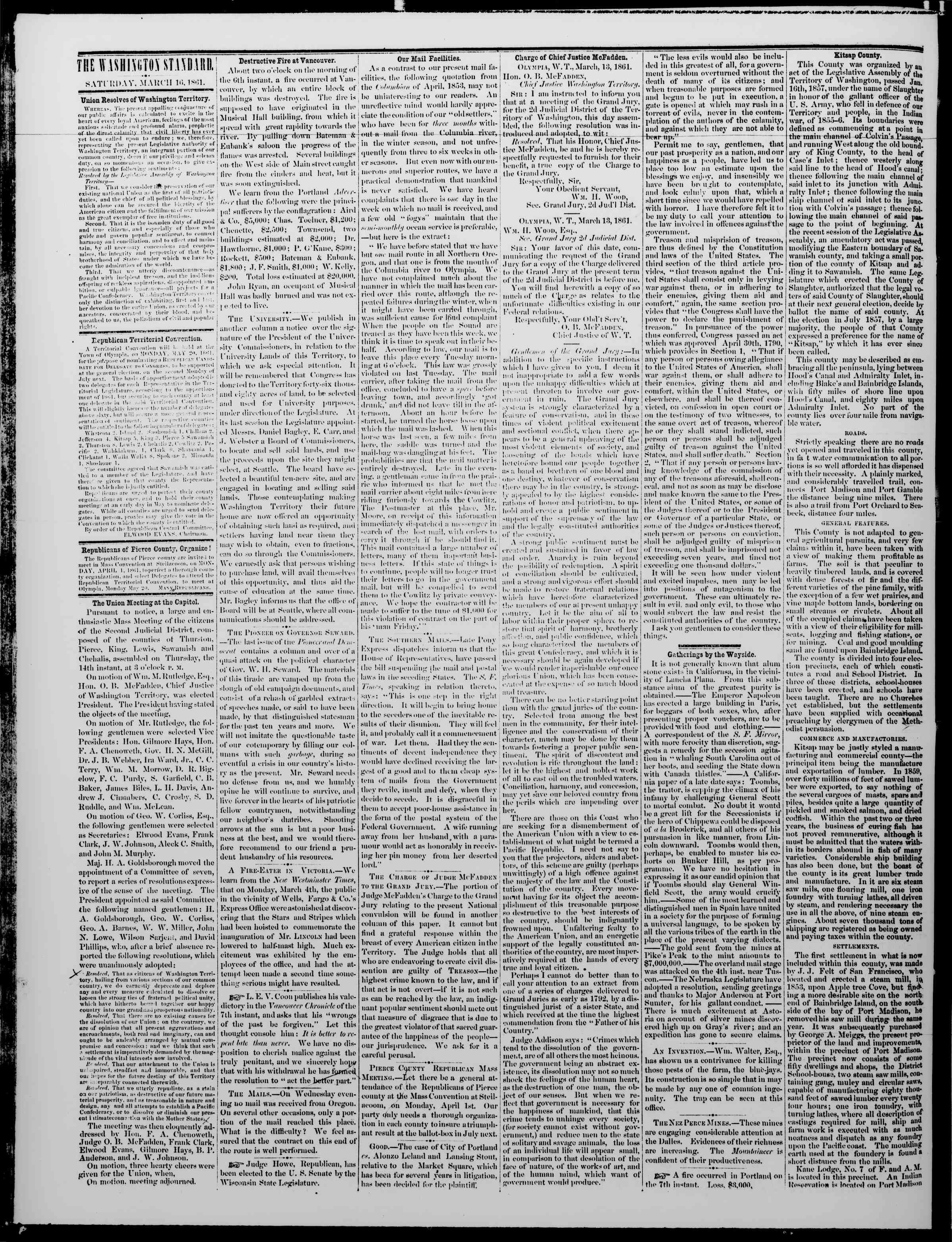 Newspaper of The Washington Standard dated March 16, 1861 Page 2