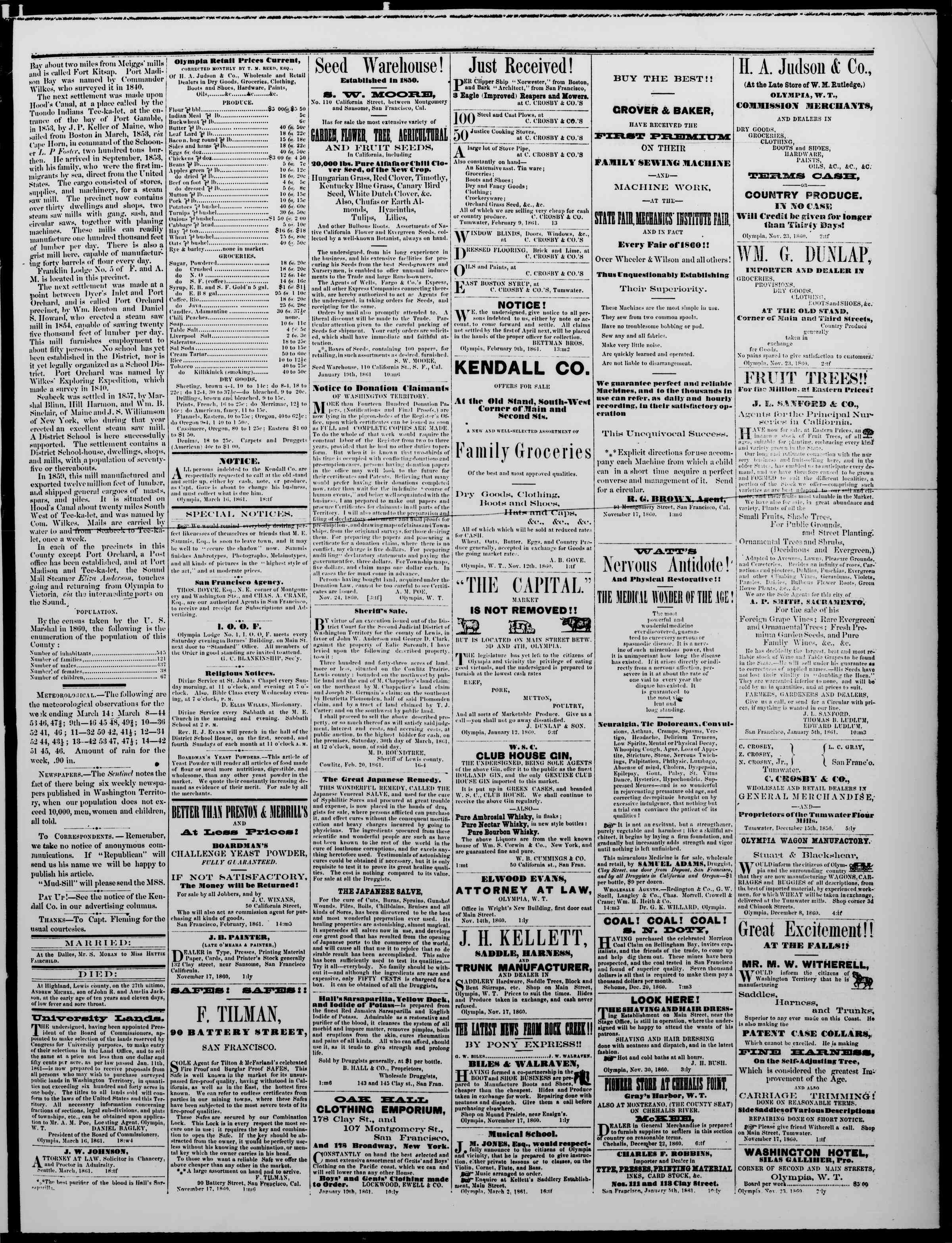 Newspaper of The Washington Standard dated March 16, 1861 Page 3