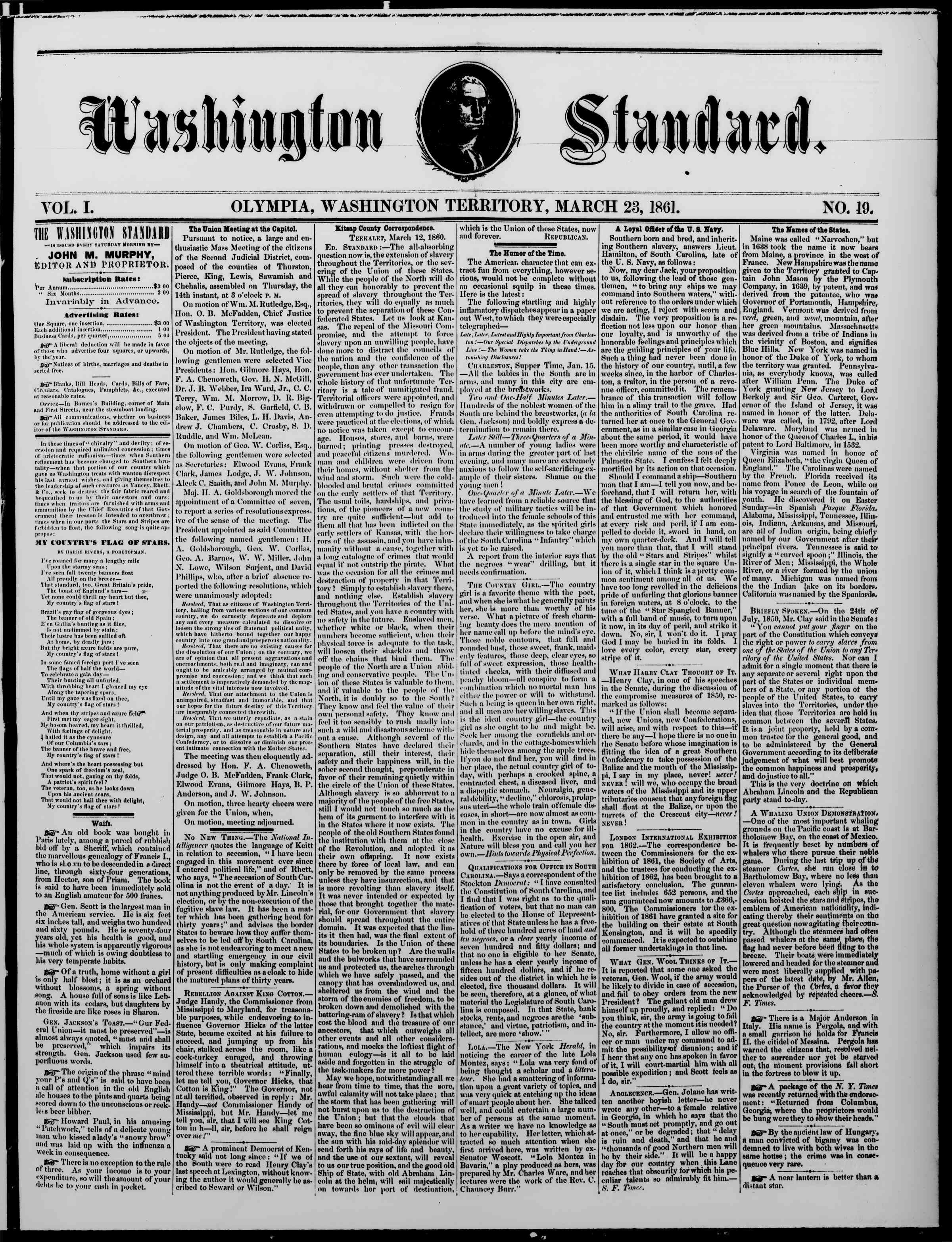 Newspaper of The Washington Standard dated 23 Mart 1861 Page 1