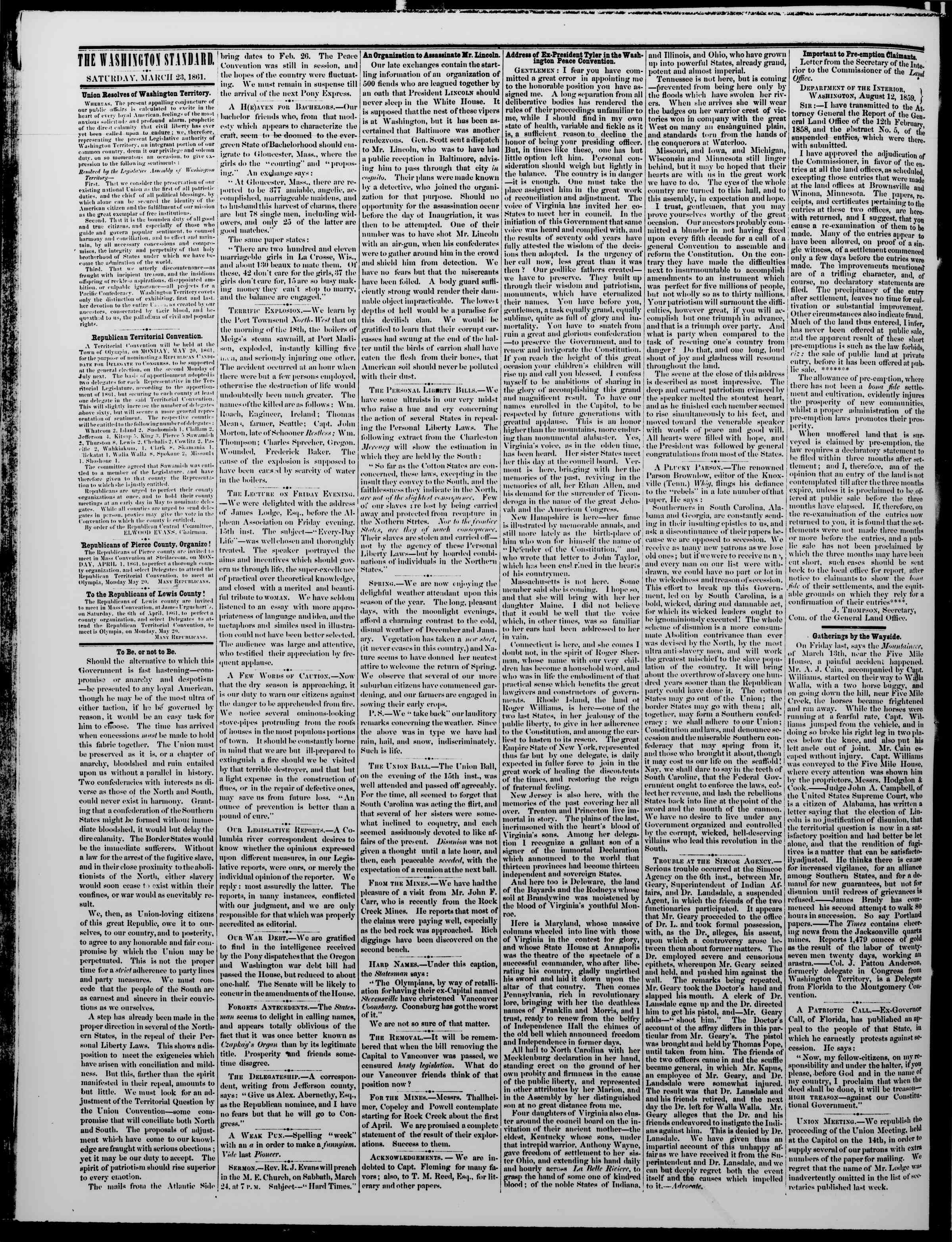 Newspaper of The Washington Standard dated 23 Mart 1861 Page 2