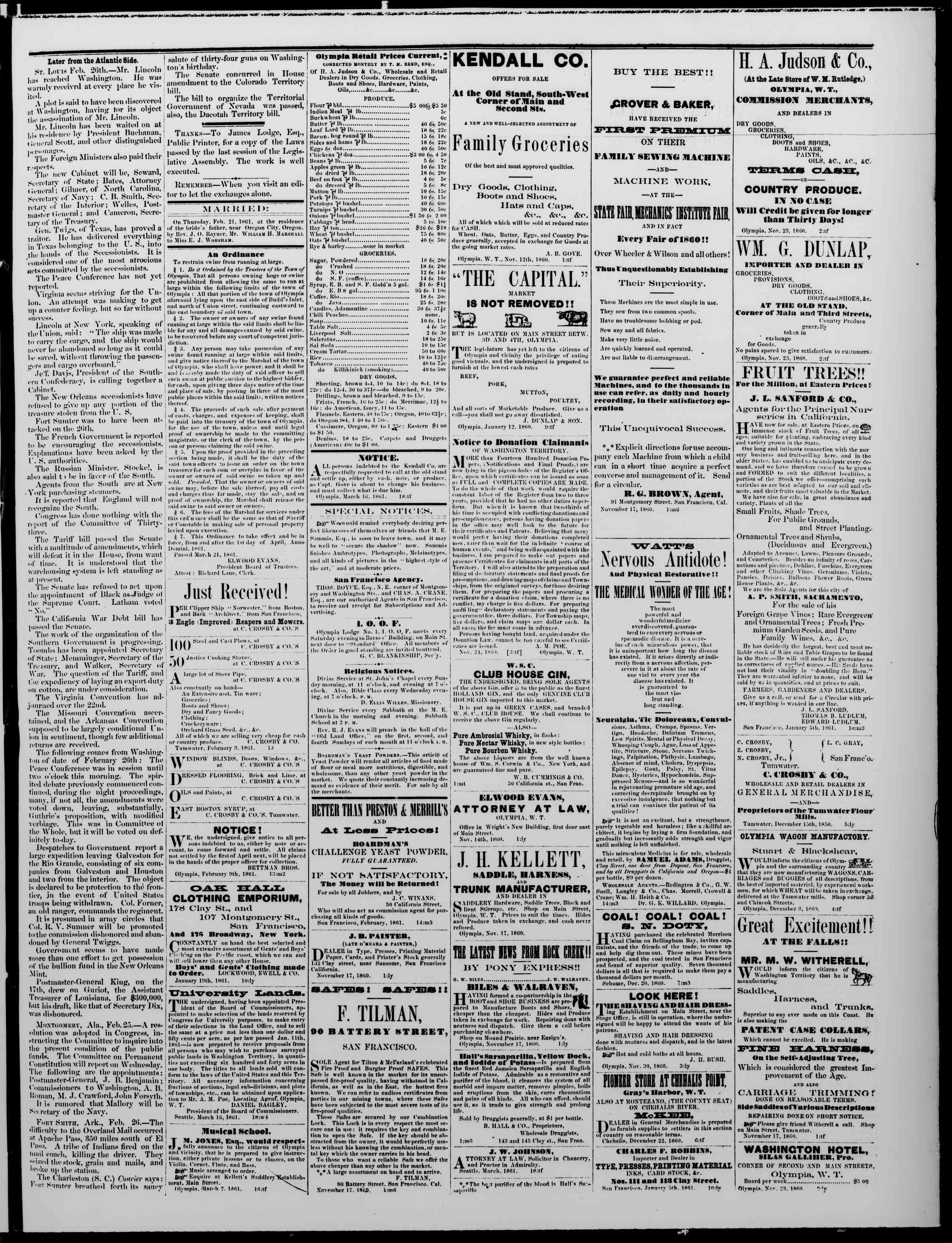 23 Mart 1861 tarihli The Washington Standard Gazetesi Sayfa 3