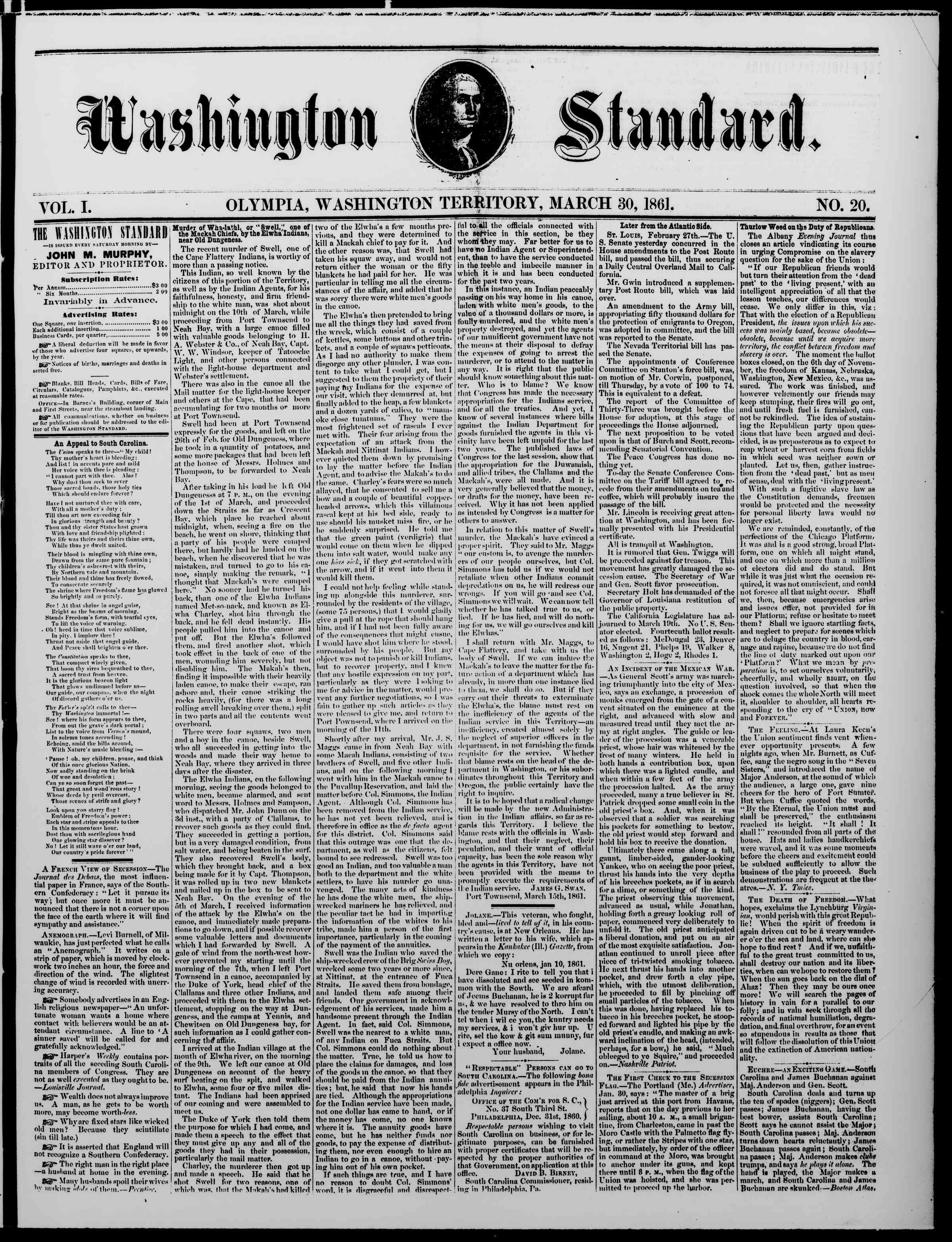 Newspaper of The Washington Standard dated March 30, 1861 Page 1