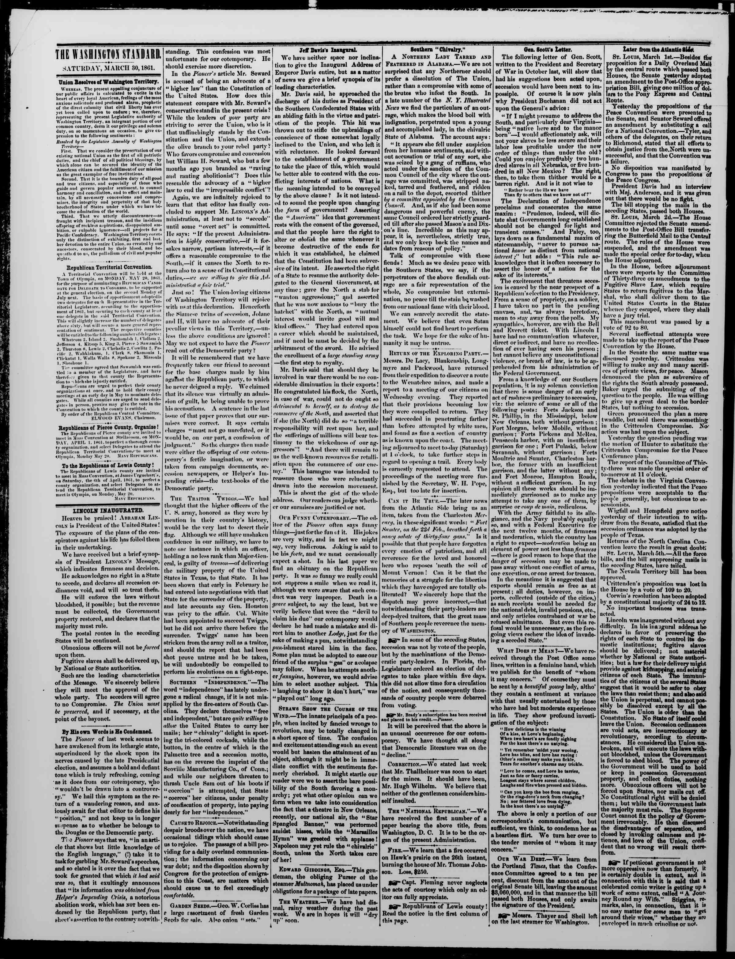Newspaper of The Washington Standard dated March 30, 1861 Page 2