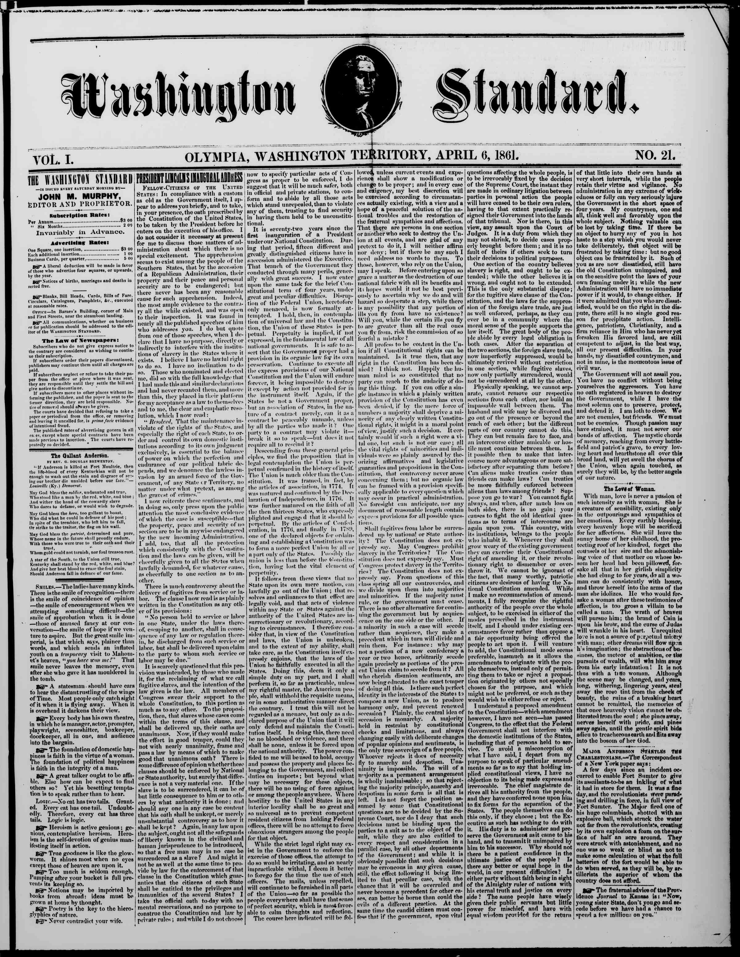Newspaper of The Washington Standard dated April 6, 1861 Page 1
