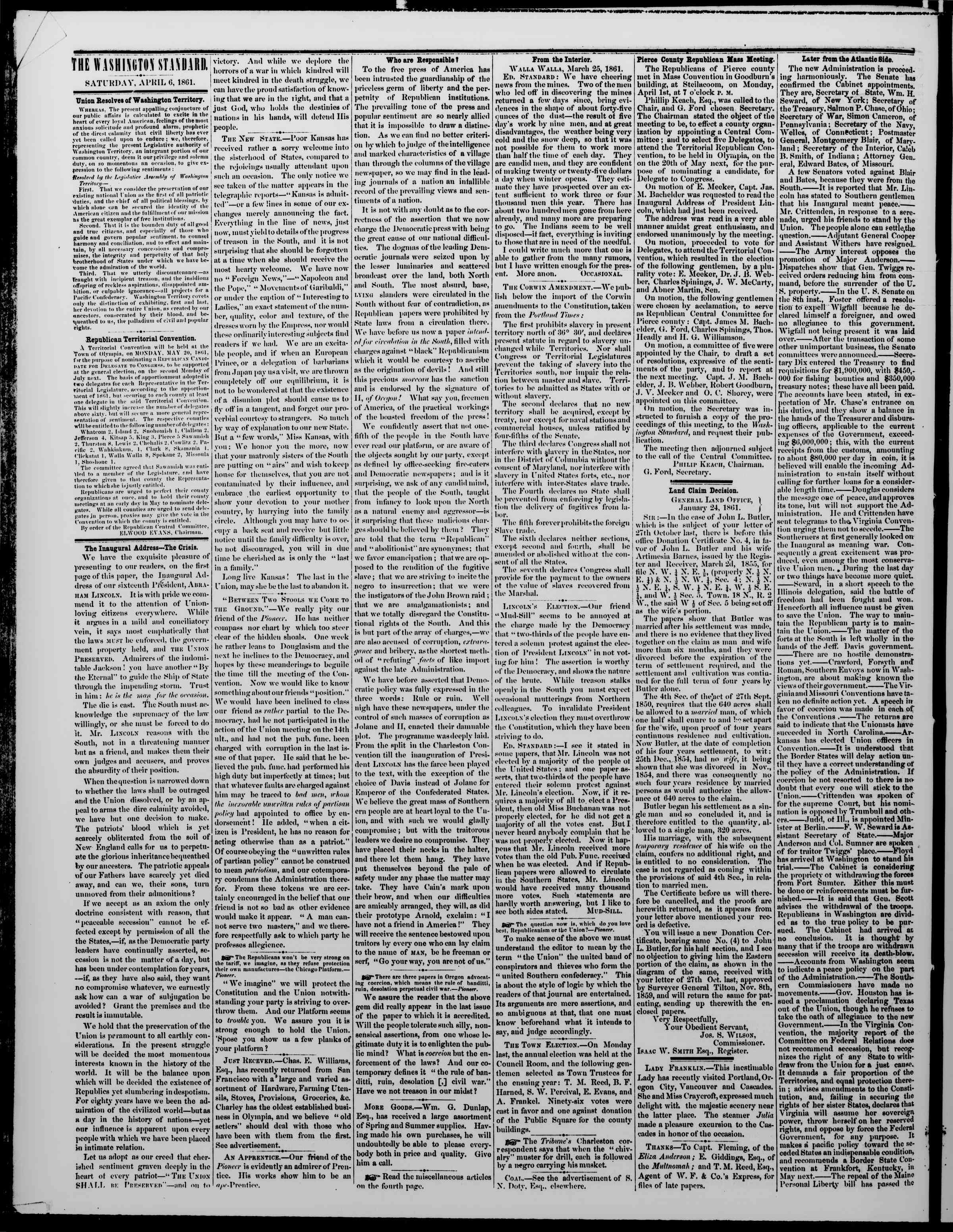 Newspaper of The Washington Standard dated April 6, 1861 Page 2