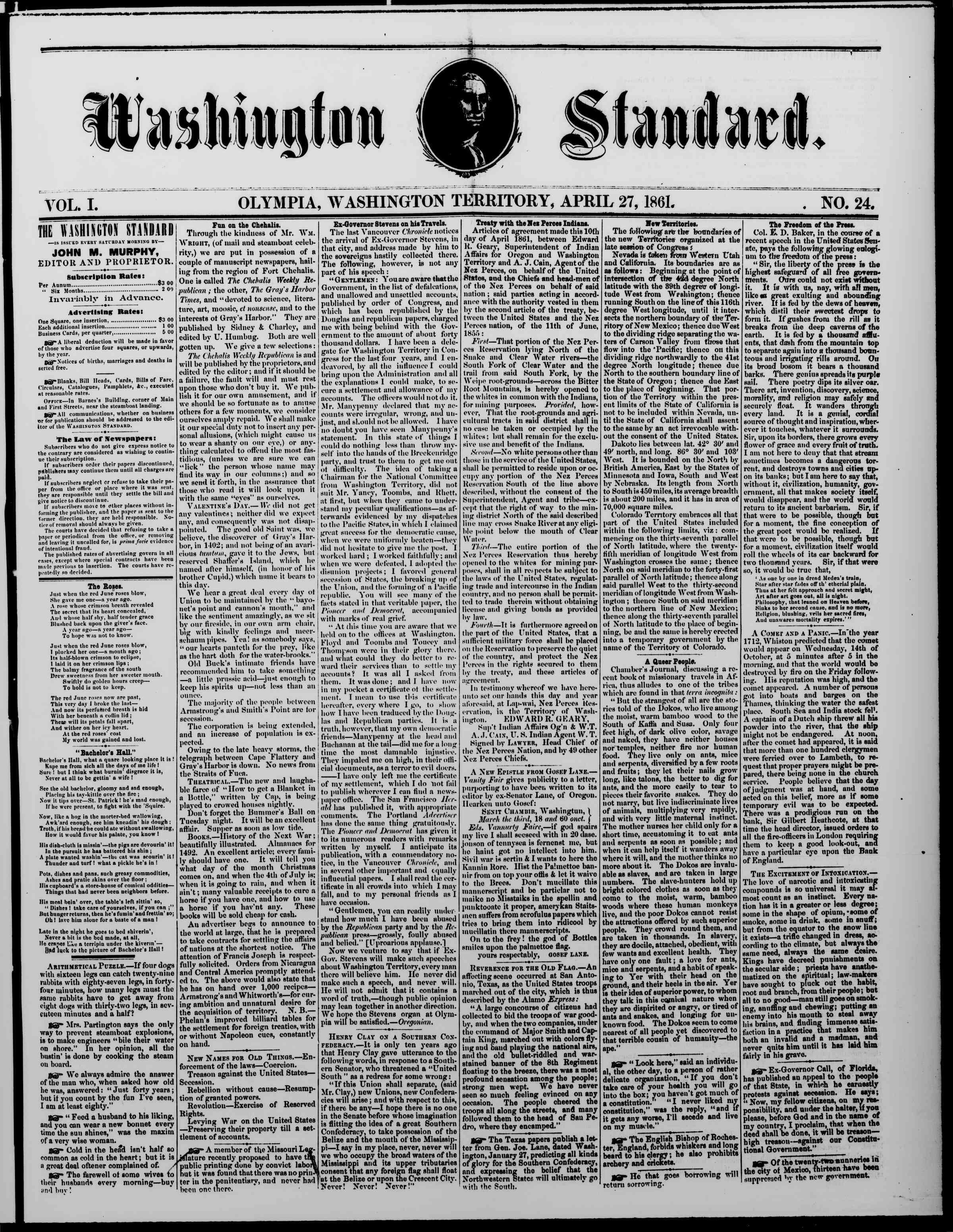 Newspaper of The Washington Standard dated 27 Nisan 1861 Page 1