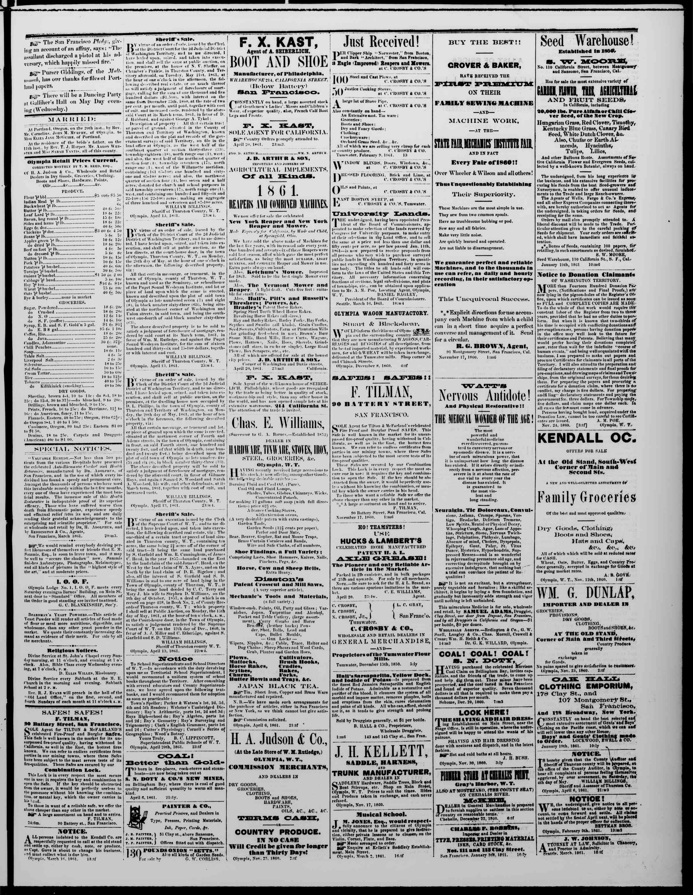 Newspaper of The Washington Standard dated April 27, 1861 Page 3