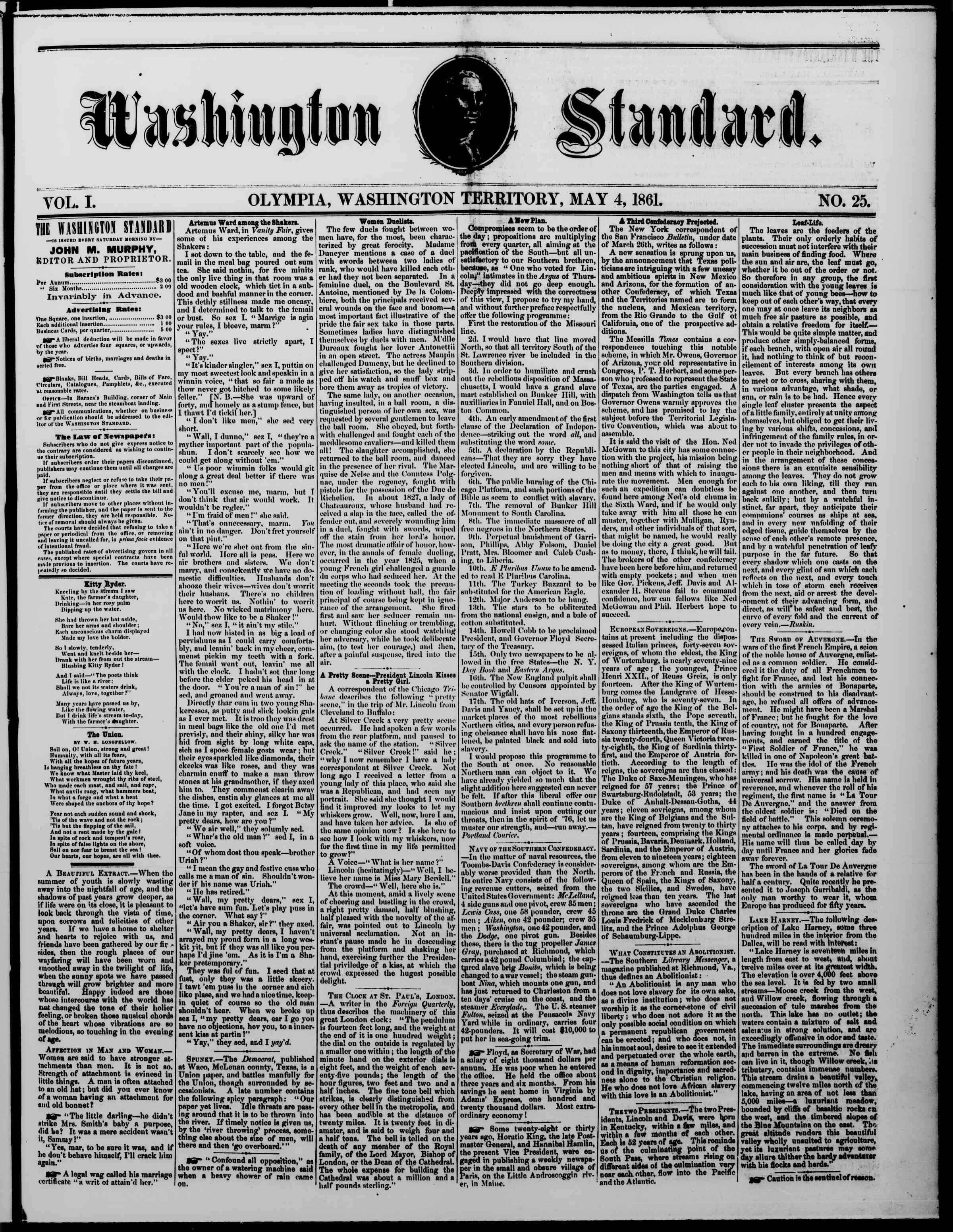 Newspaper of The Washington Standard dated May 4, 1861 Page 1