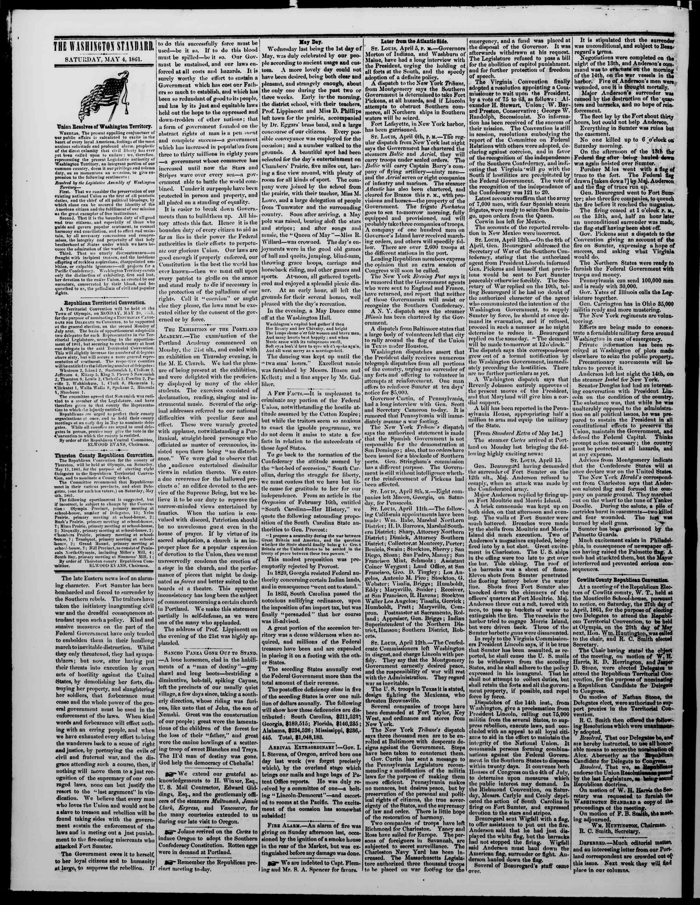 Newspaper of The Washington Standard dated 4 Mayıs 1861 Page 2
