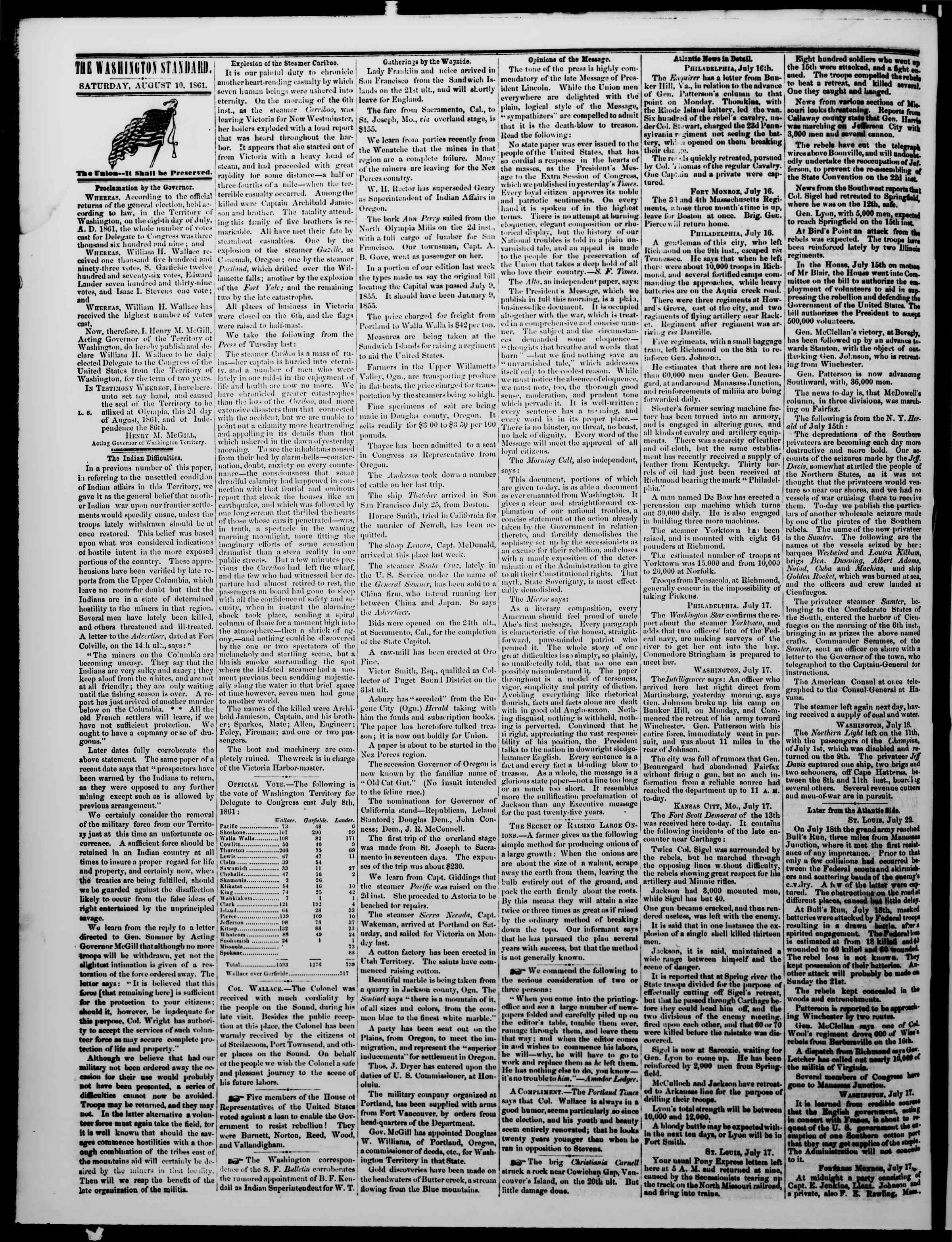 Newspaper of The Washington Standard dated August 10, 1861 Page 2