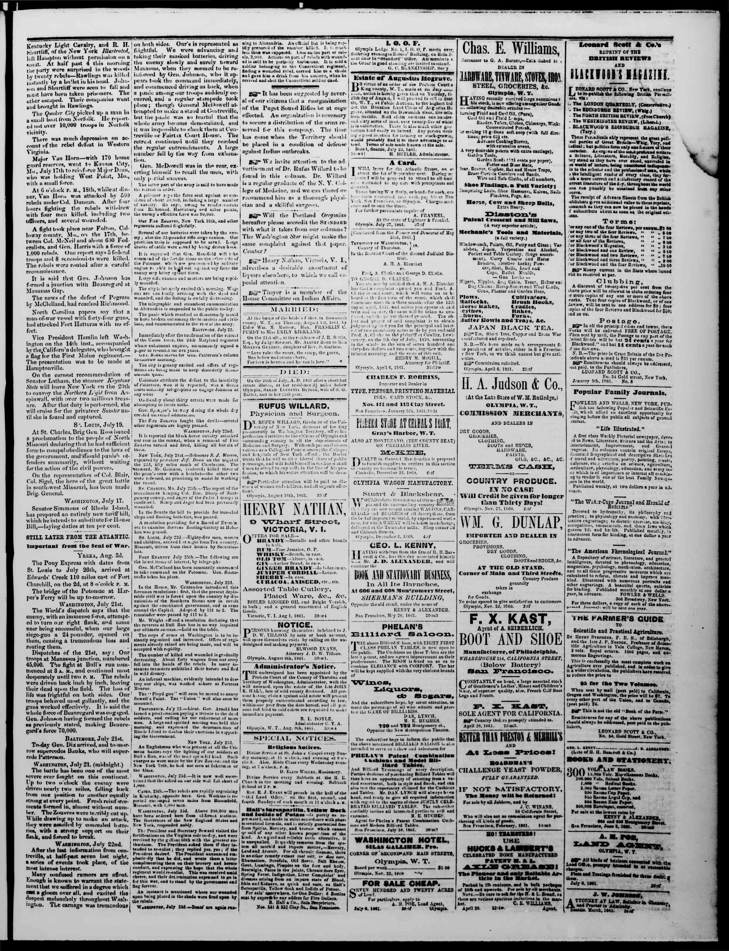 Newspaper of The Washington Standard dated August 10, 1861 Page 3