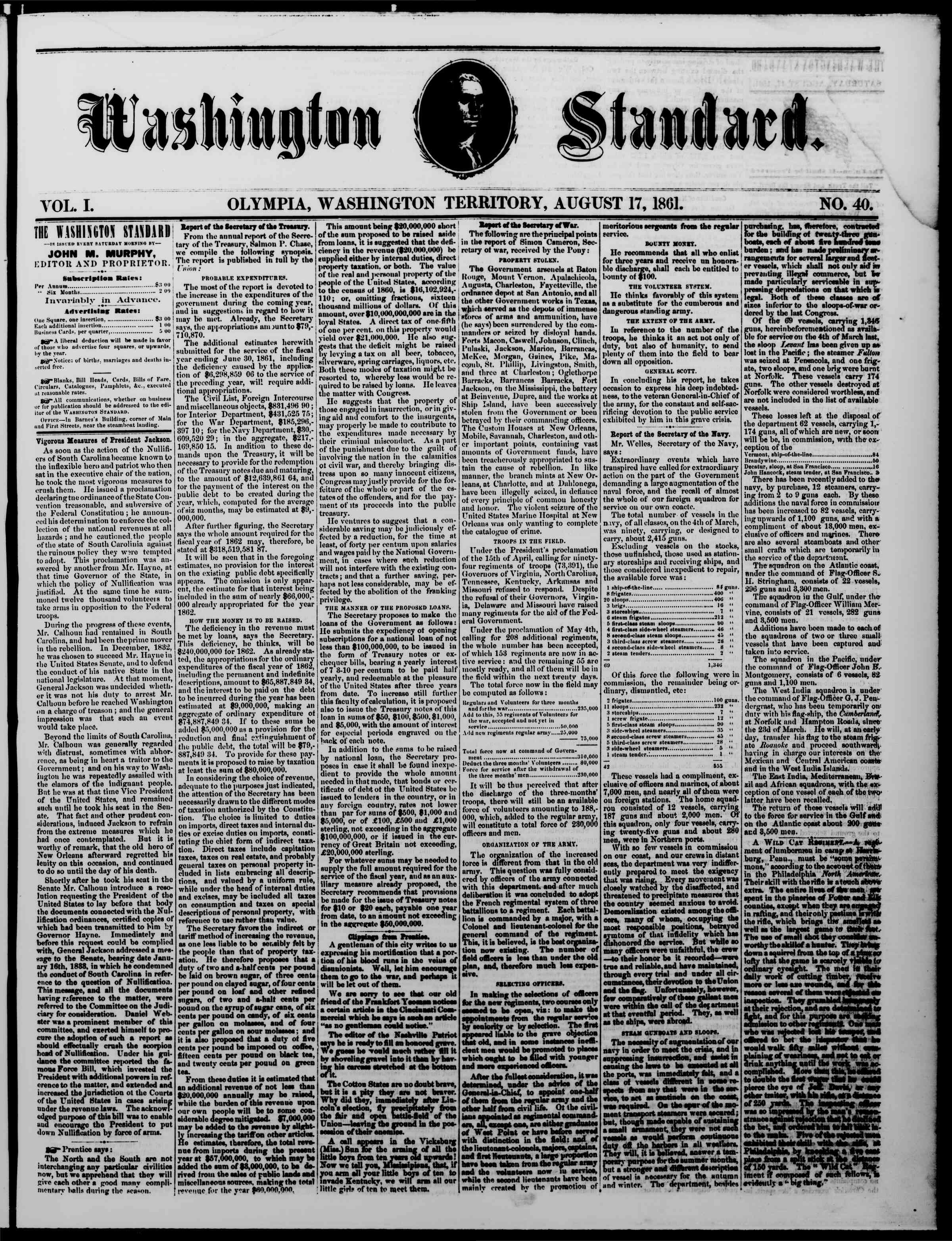 Newspaper of The Washington Standard dated August 17, 1861 Page 1