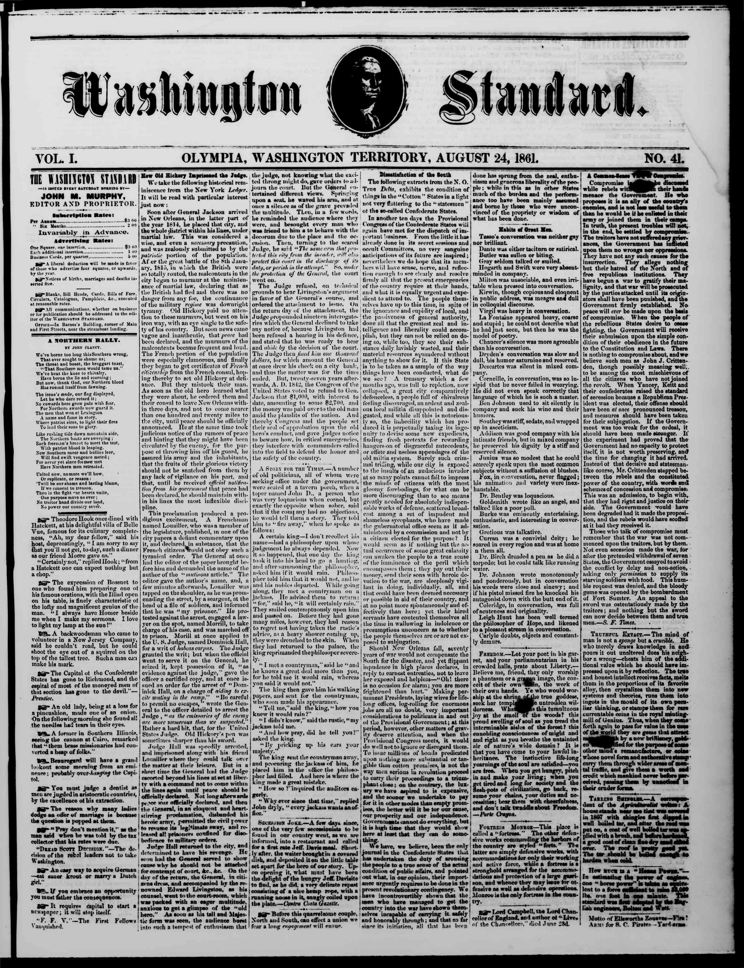 Newspaper of The Washington Standard dated August 24, 1861 Page 1