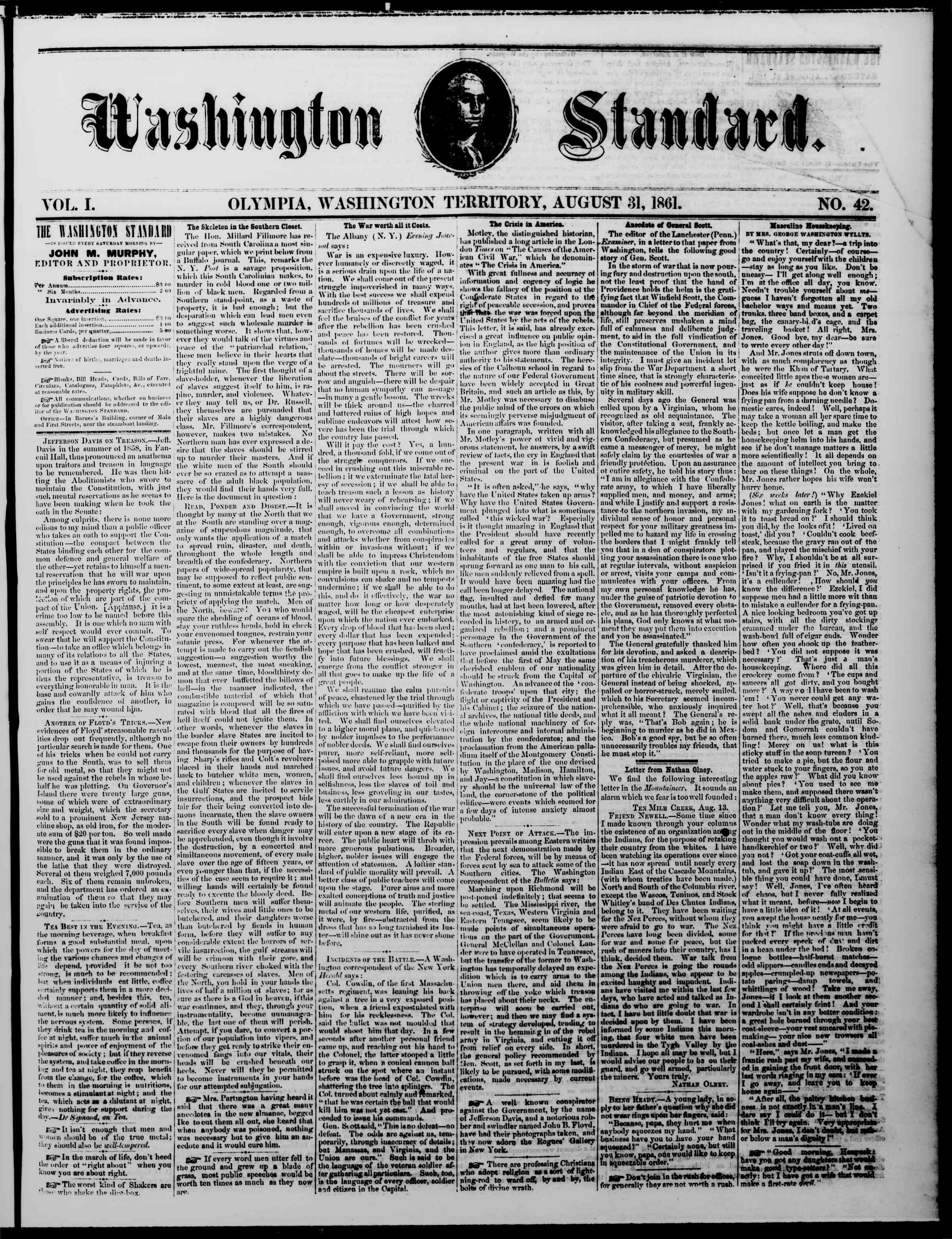 Newspaper of The Washington Standard dated August 31, 1861 Page 1