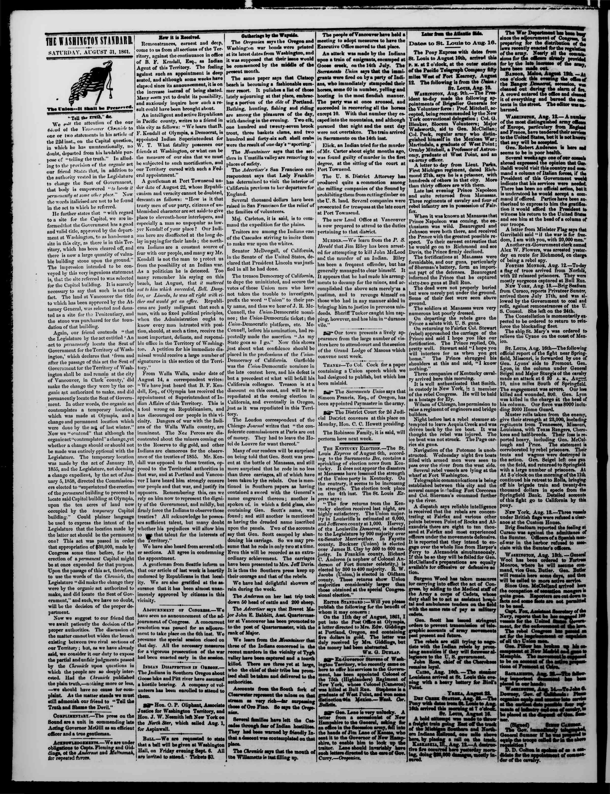 Newspaper of The Washington Standard dated August 31, 1861 Page 2