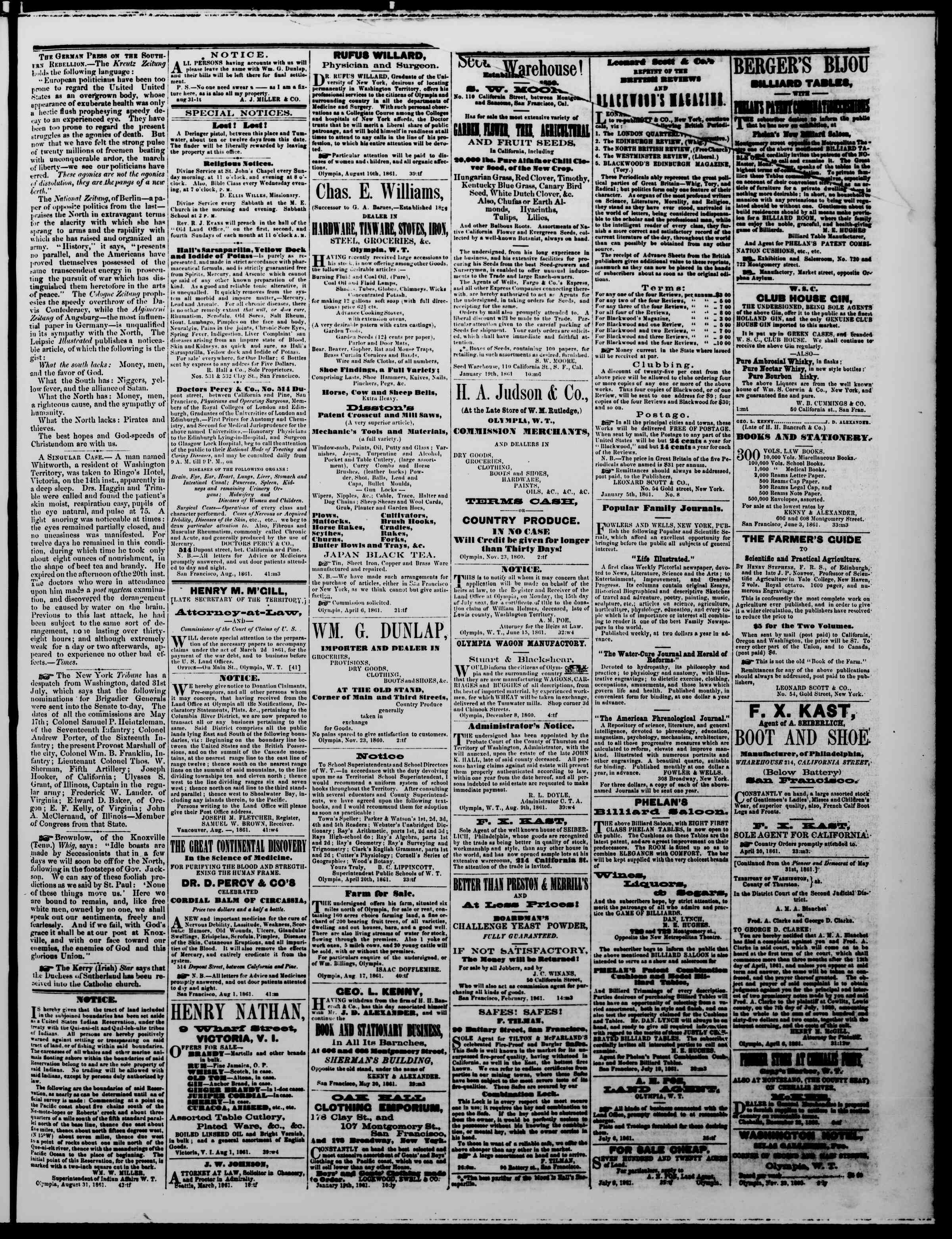 Newspaper of The Washington Standard dated August 31, 1861 Page 3