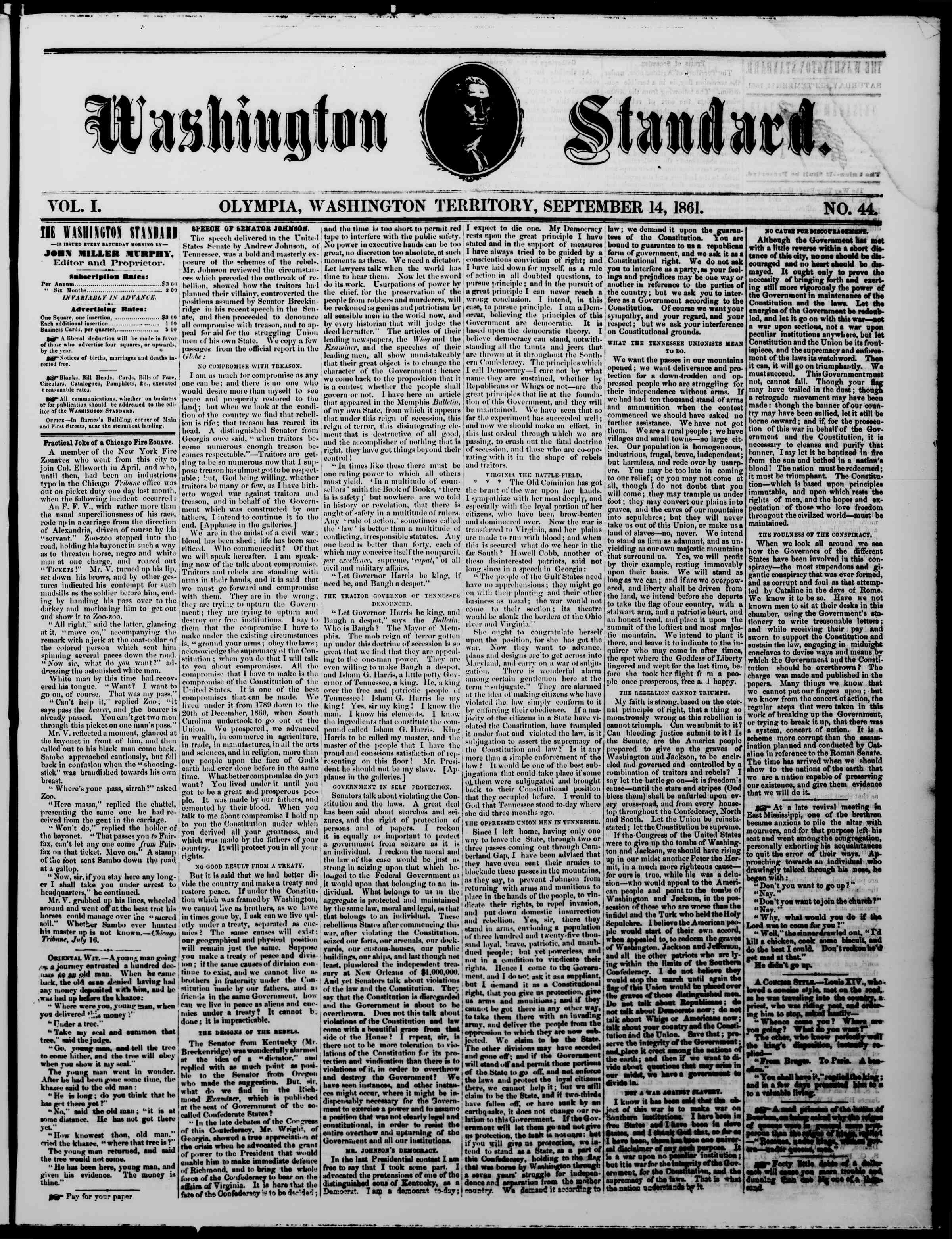 Newspaper of The Washington Standard dated September 14, 1861 Page 1