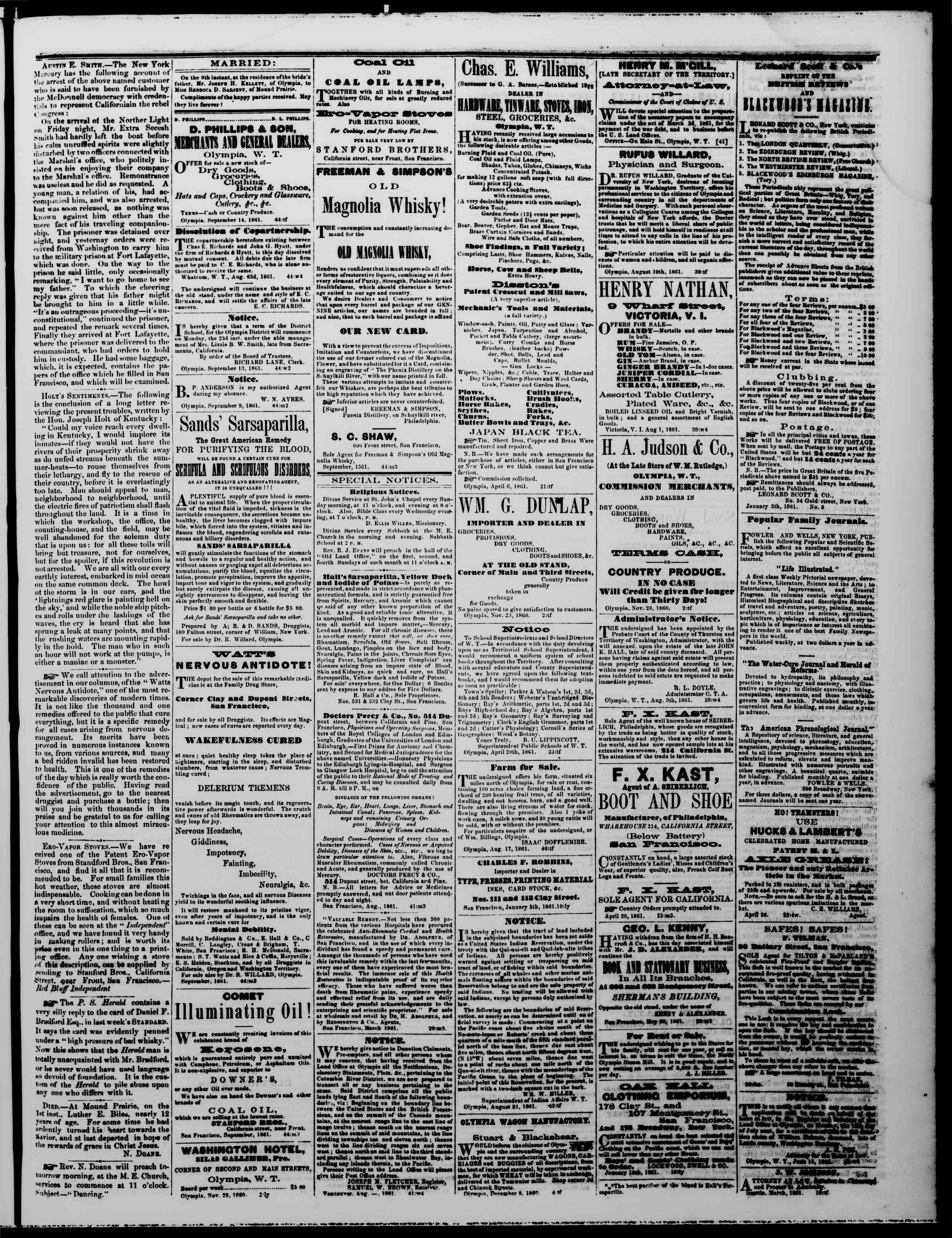 Newspaper of The Washington Standard dated September 14, 1861 Page 3
