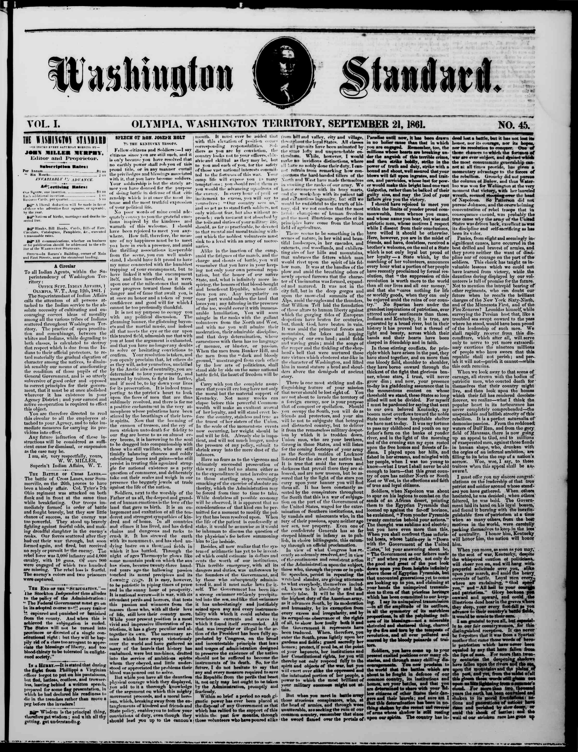 Newspaper of The Washington Standard dated September 21, 1861 Page 1