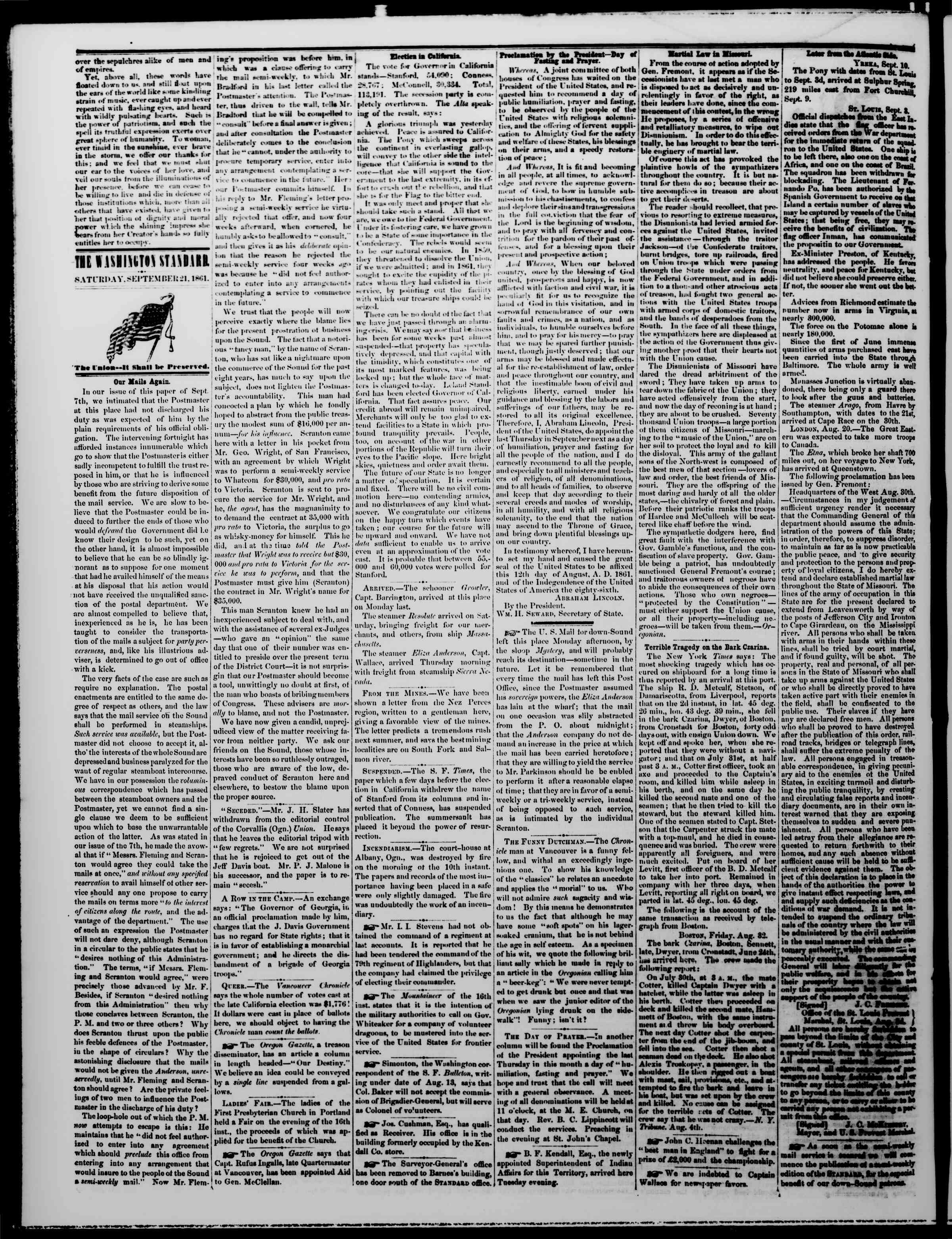 Newspaper of The Washington Standard dated September 21, 1861 Page 2