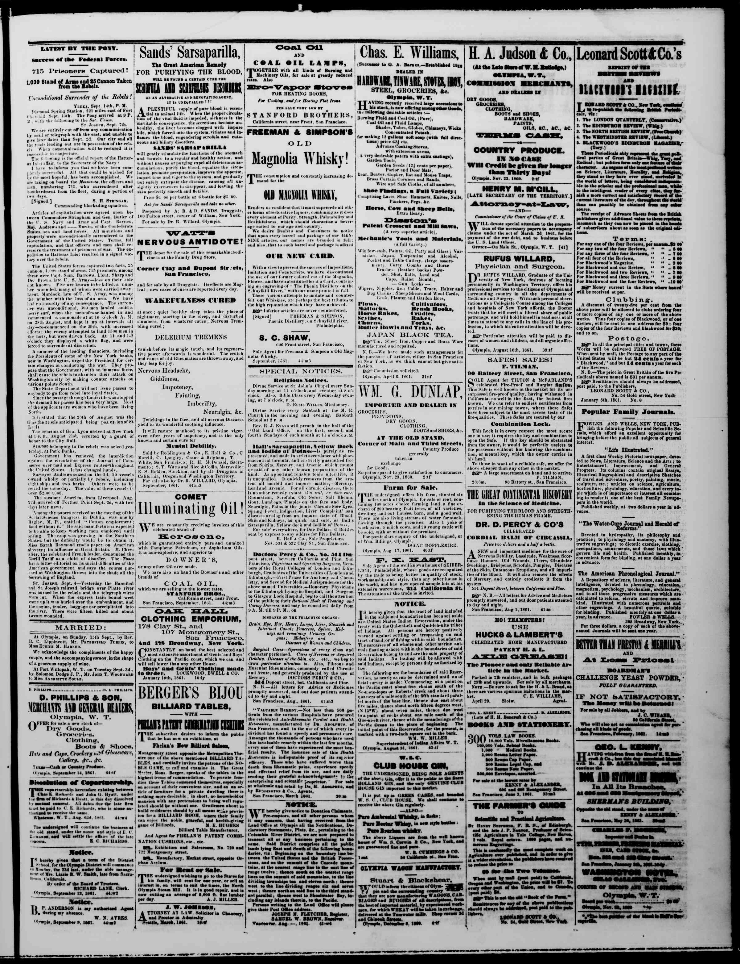 Newspaper of The Washington Standard dated September 21, 1861 Page 3