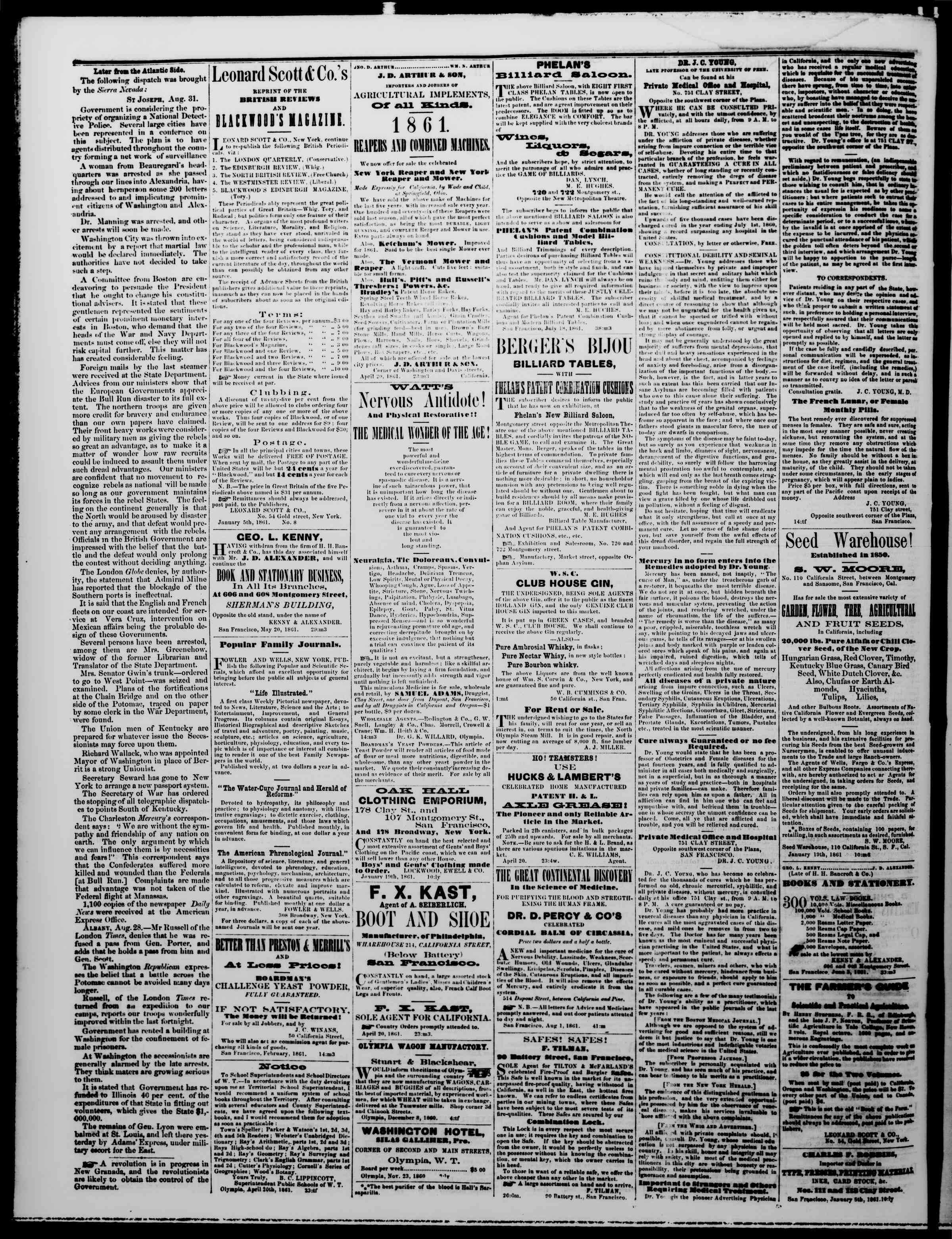 Newspaper of The Washington Standard dated September 21, 1861 Page 4