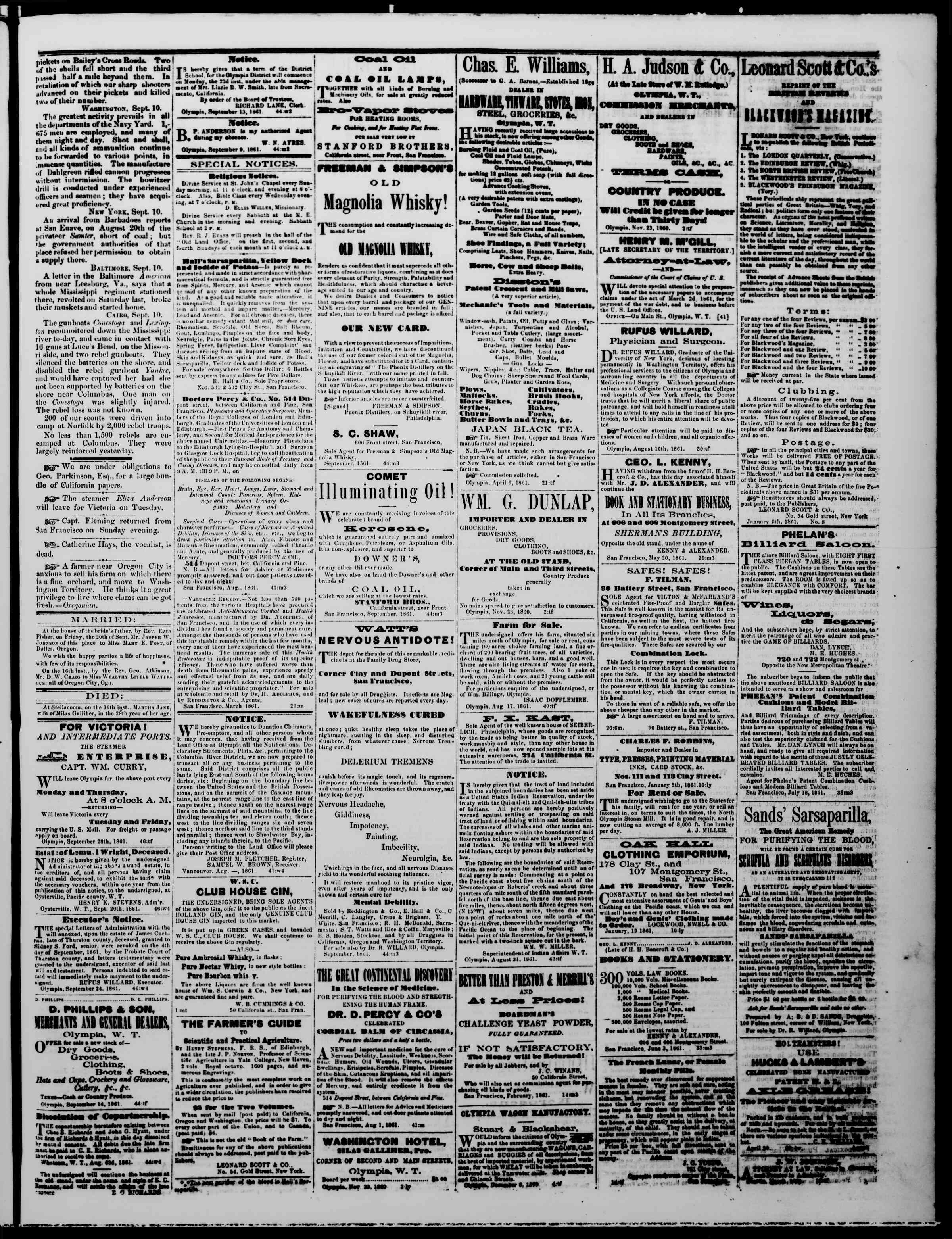 Newspaper of The Washington Standard dated September 28, 1861 Page 3