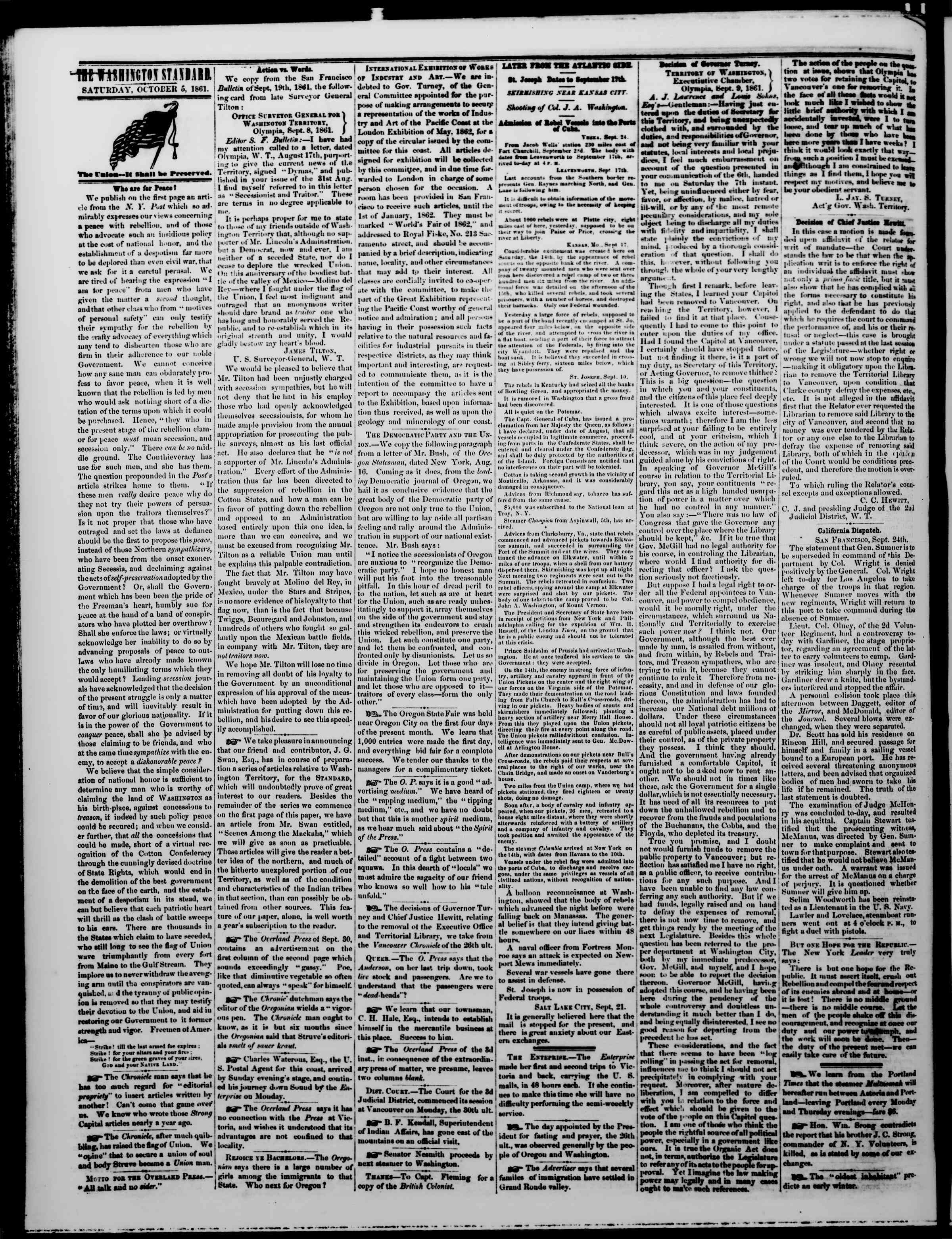 Newspaper of The Washington Standard dated October 5, 1861 Page 2