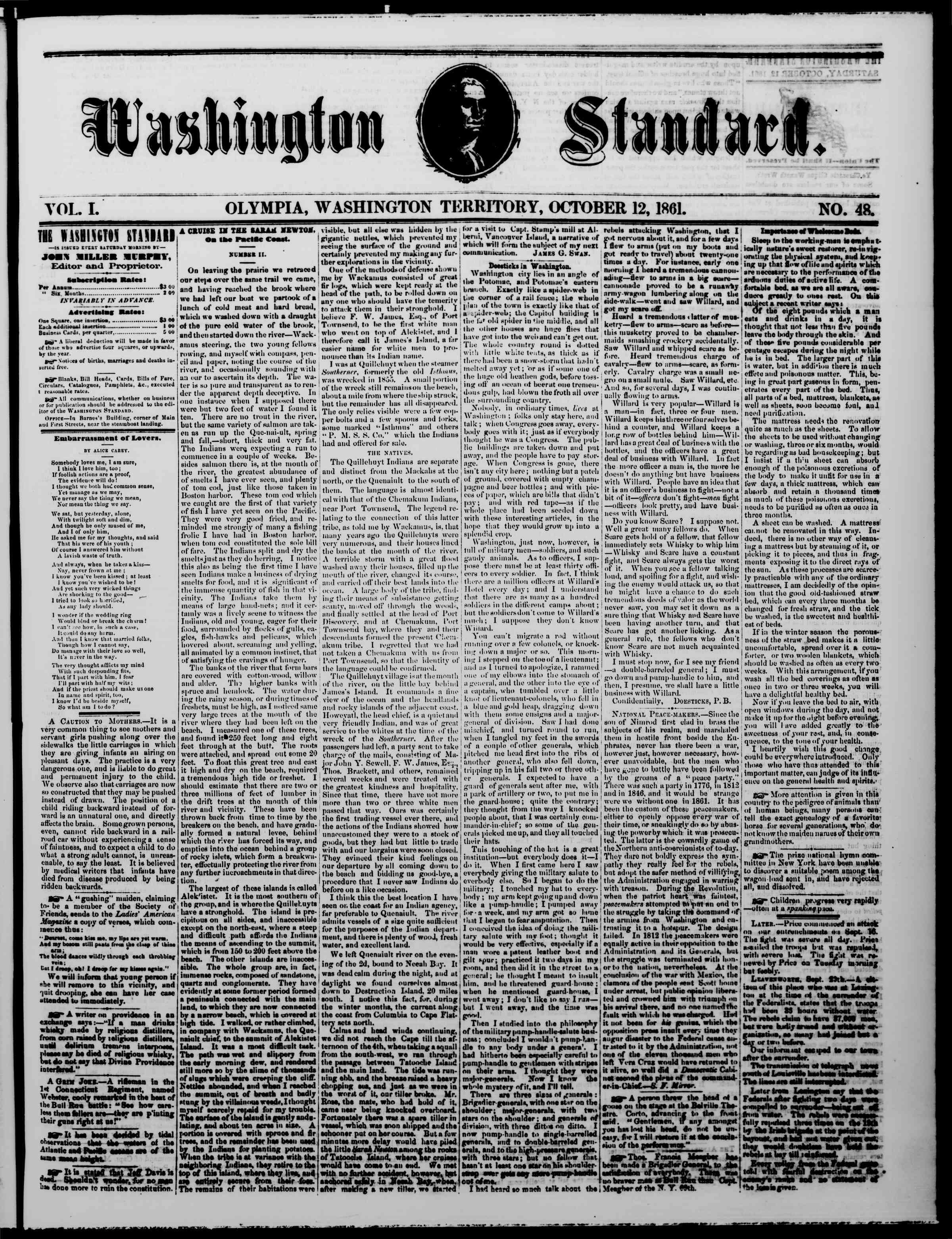 12 Ekim 1861 tarihli The Washington Standard Gazetesi Sayfa 1