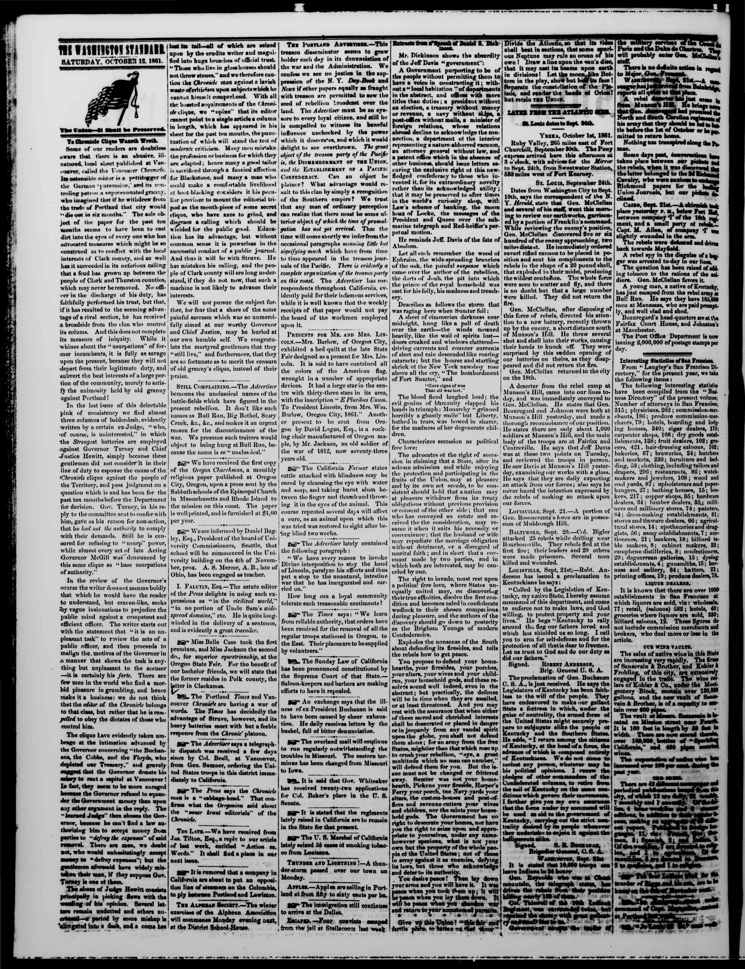 Newspaper of The Washington Standard dated October 12, 1861 Page 2